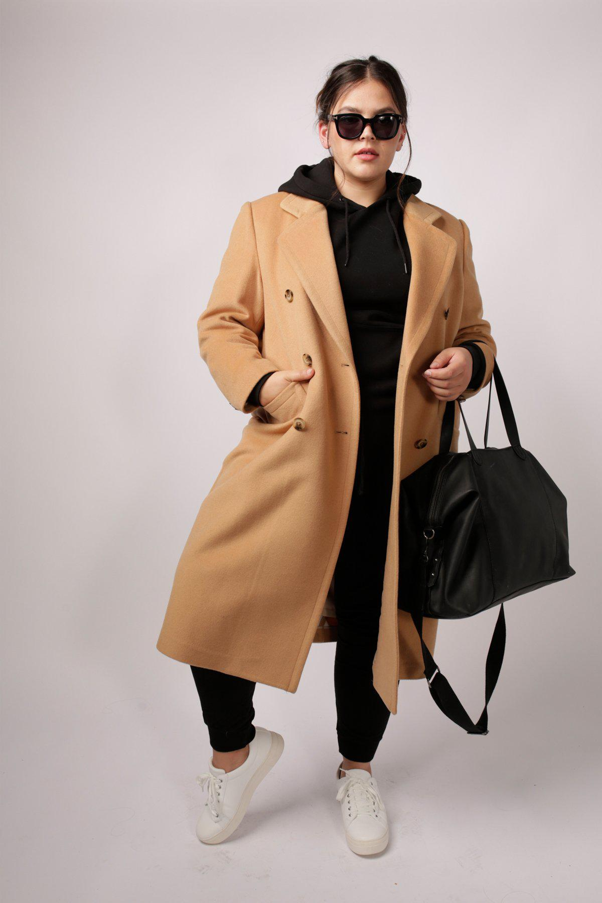 Double Breasted Car Coat - Camel