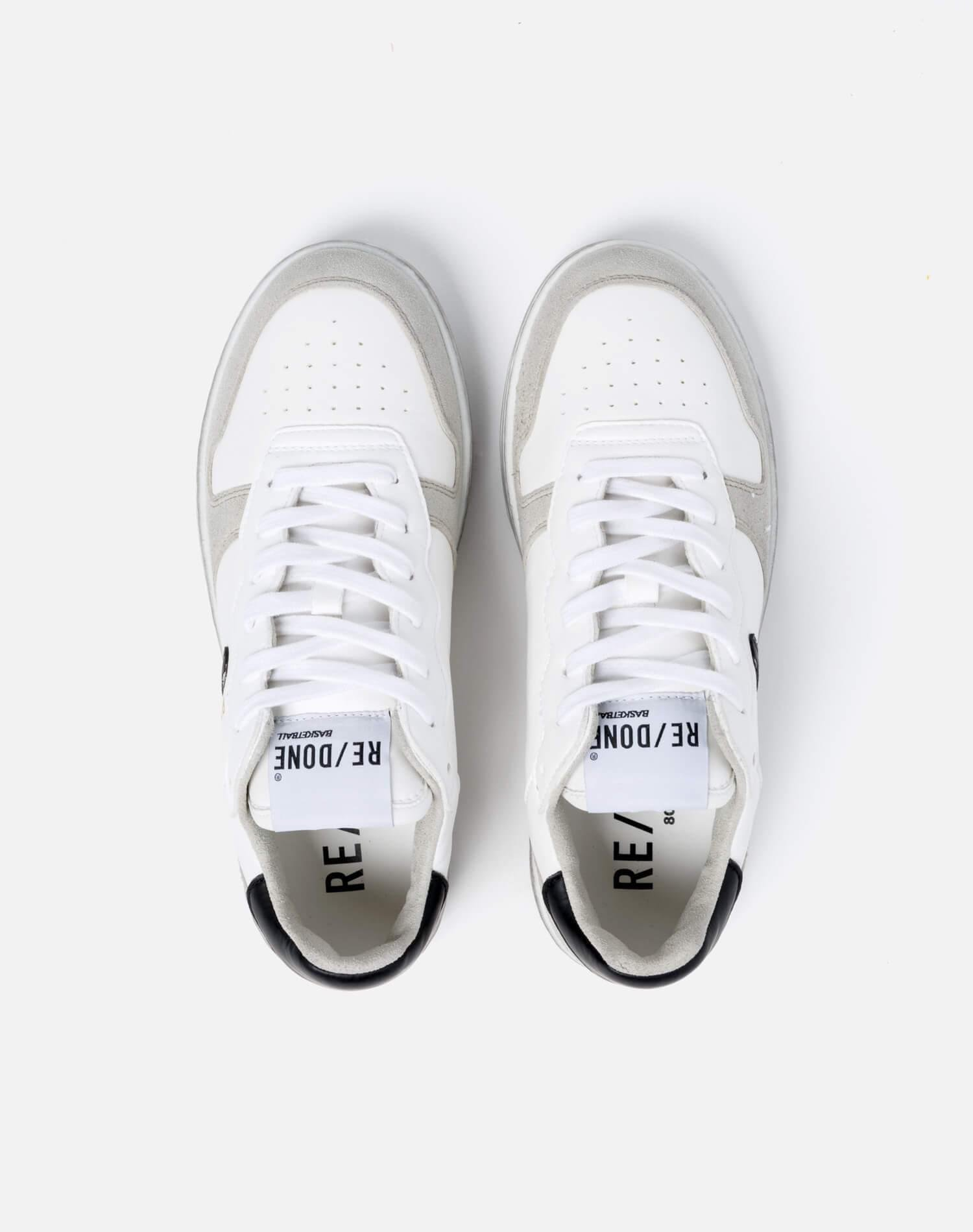 80s Sustainable Basketball Shoe - White and Black 2