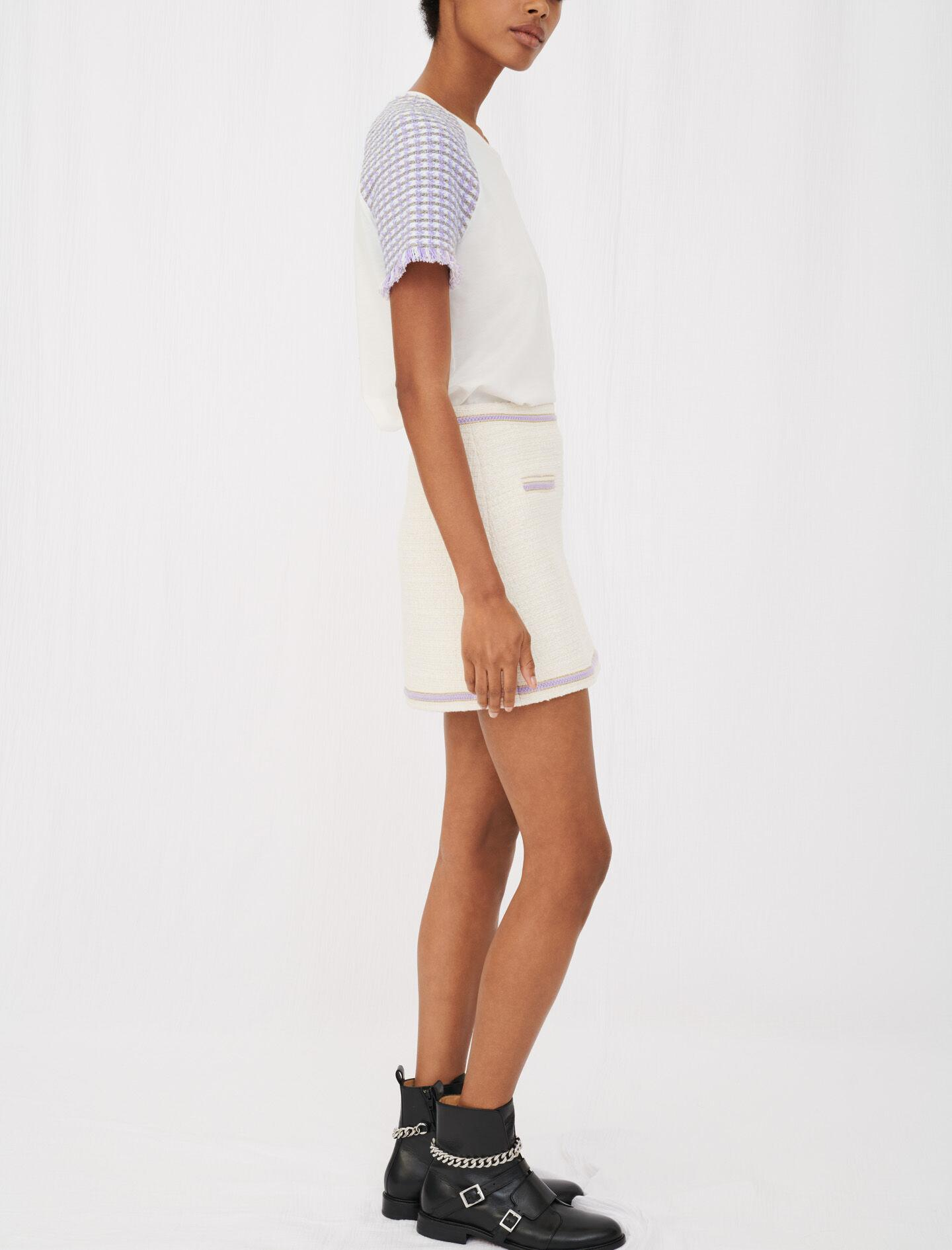 JERSEY T-SHIRT WITH TWEED SLEEVES 2