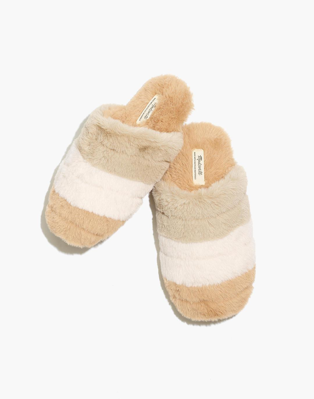 Colorblock Quilted Scuff Slippers in Recycled Faux Fur