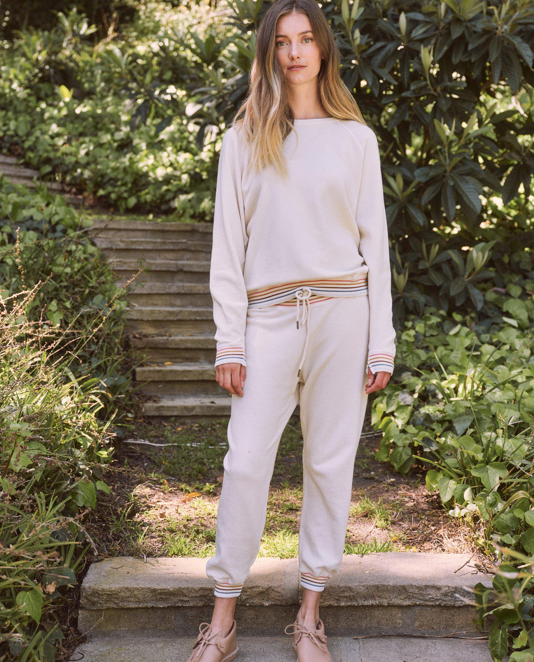 The Cropped Sweatpant. Novelty -- Washed White with Striped Rib