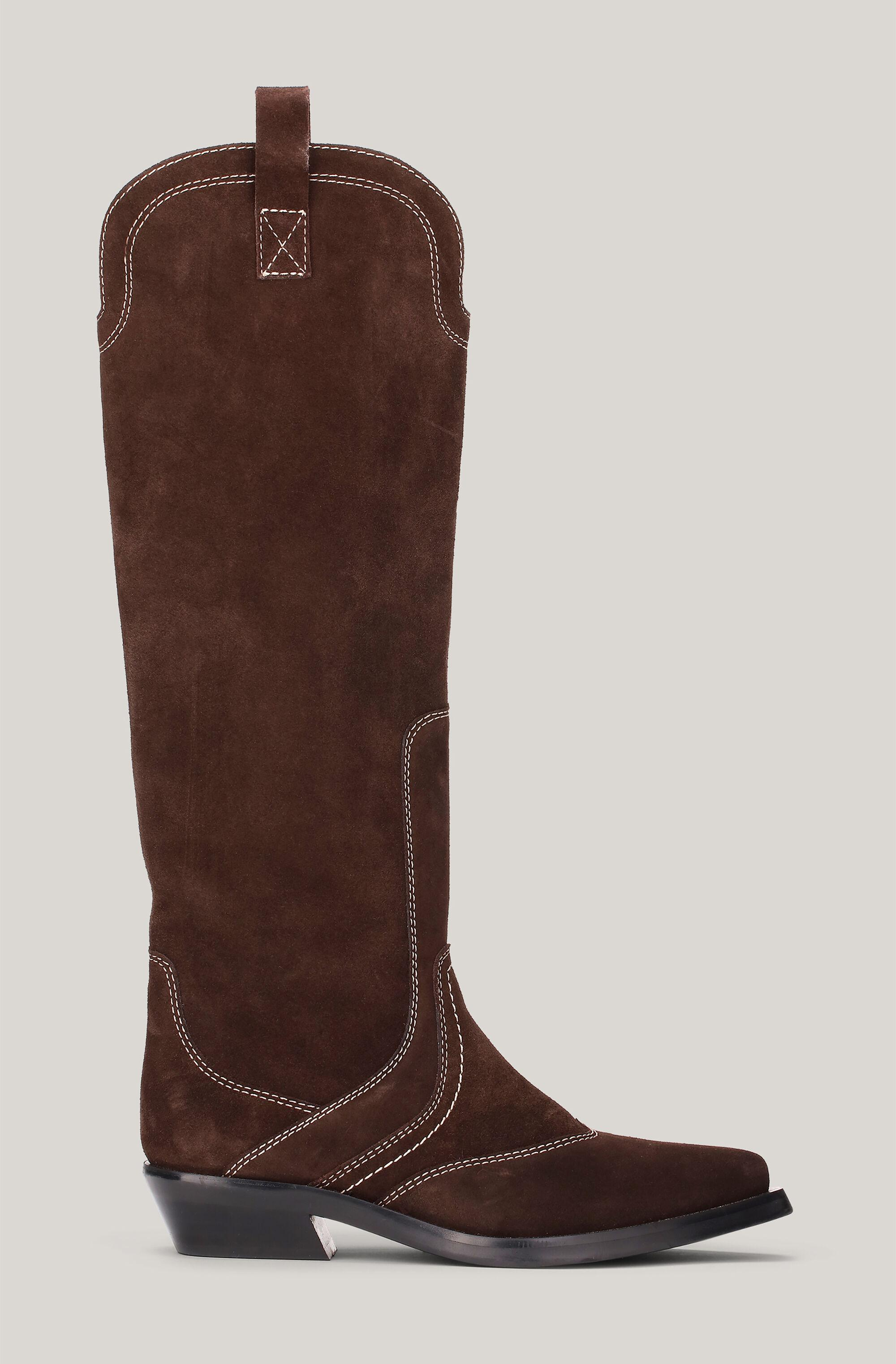 Suede Knee-High Western Boots