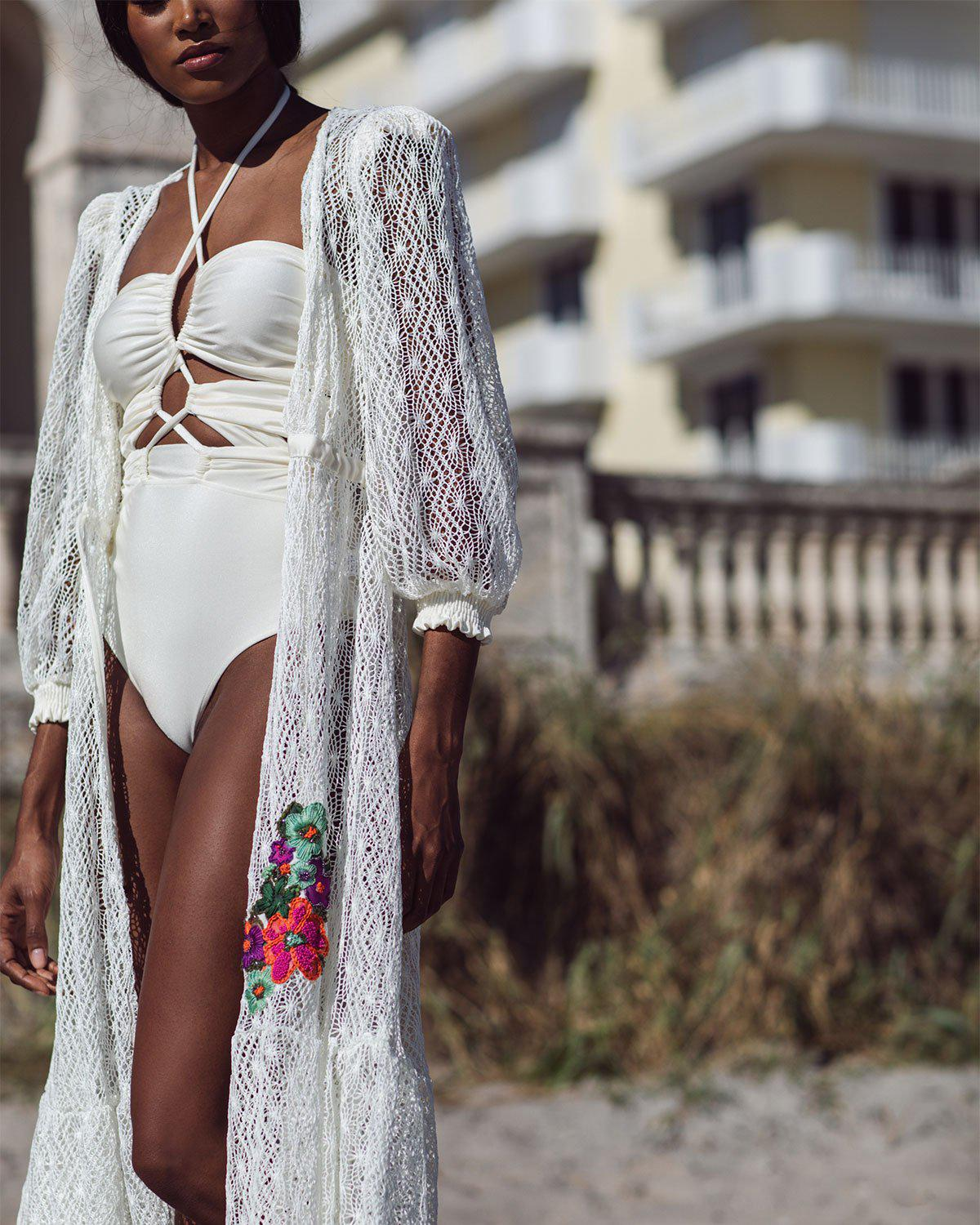 Embroidered Crochet Coverup Dress 2