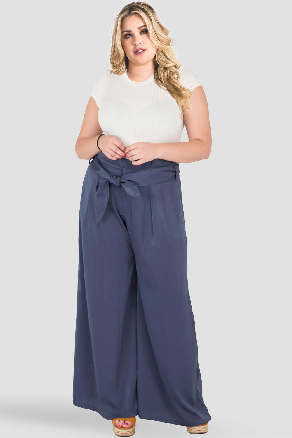 Plus Size Sue Paper Bag Waist Palazzo Pants - Midnight Blue Washed Satin