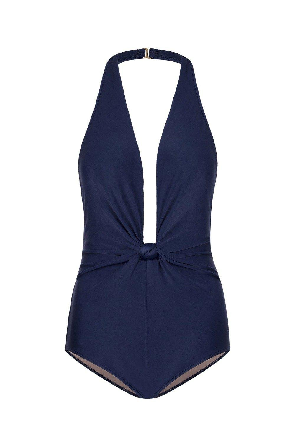 Solid Halterneck Swimsuit With Knot