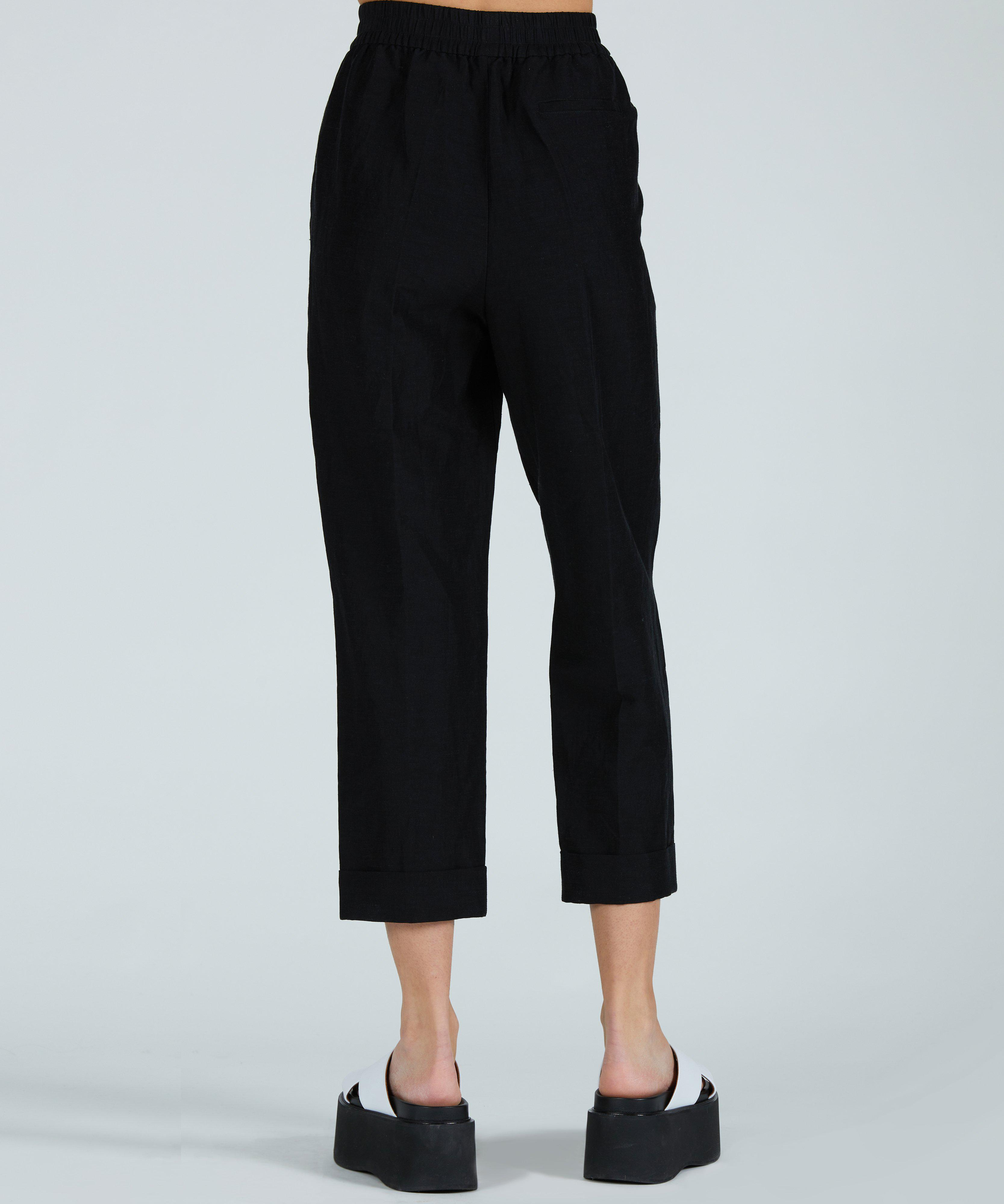 Linen Rayon Pull-On Cuff Pant - Black 2