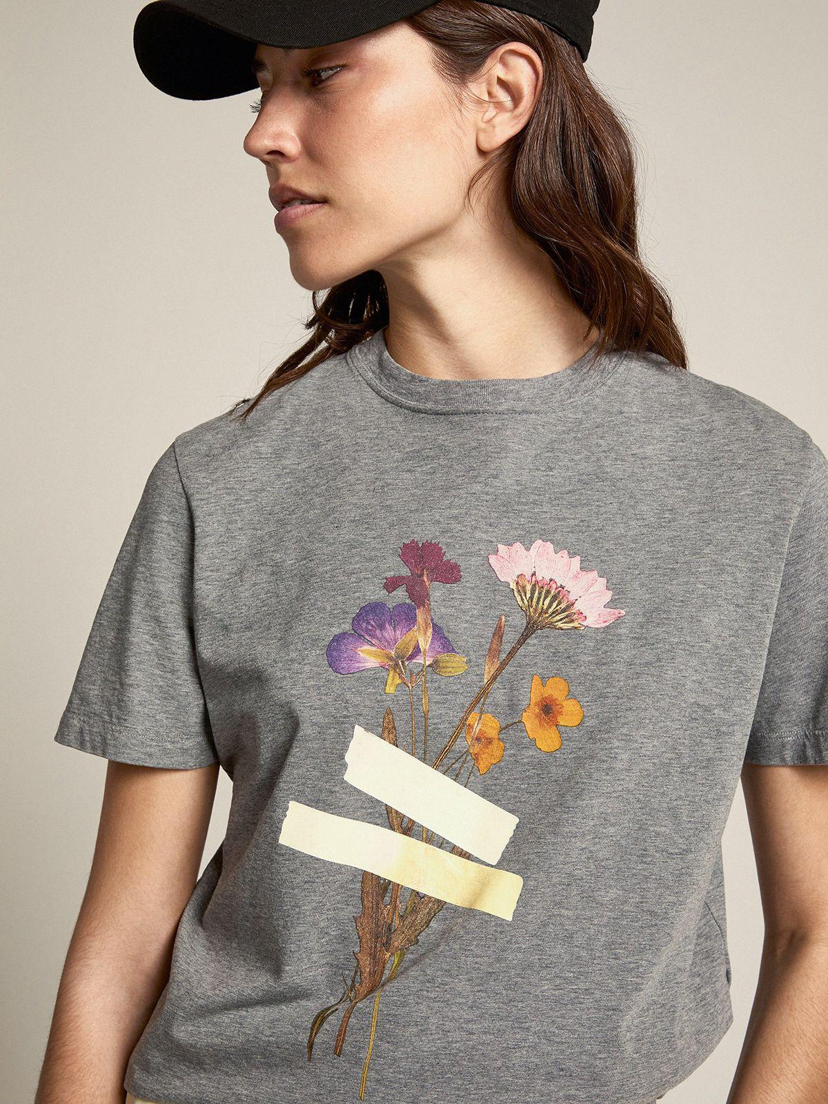 Gray melange Journey Collection T-shirt with floral bouquet and scotch tape print