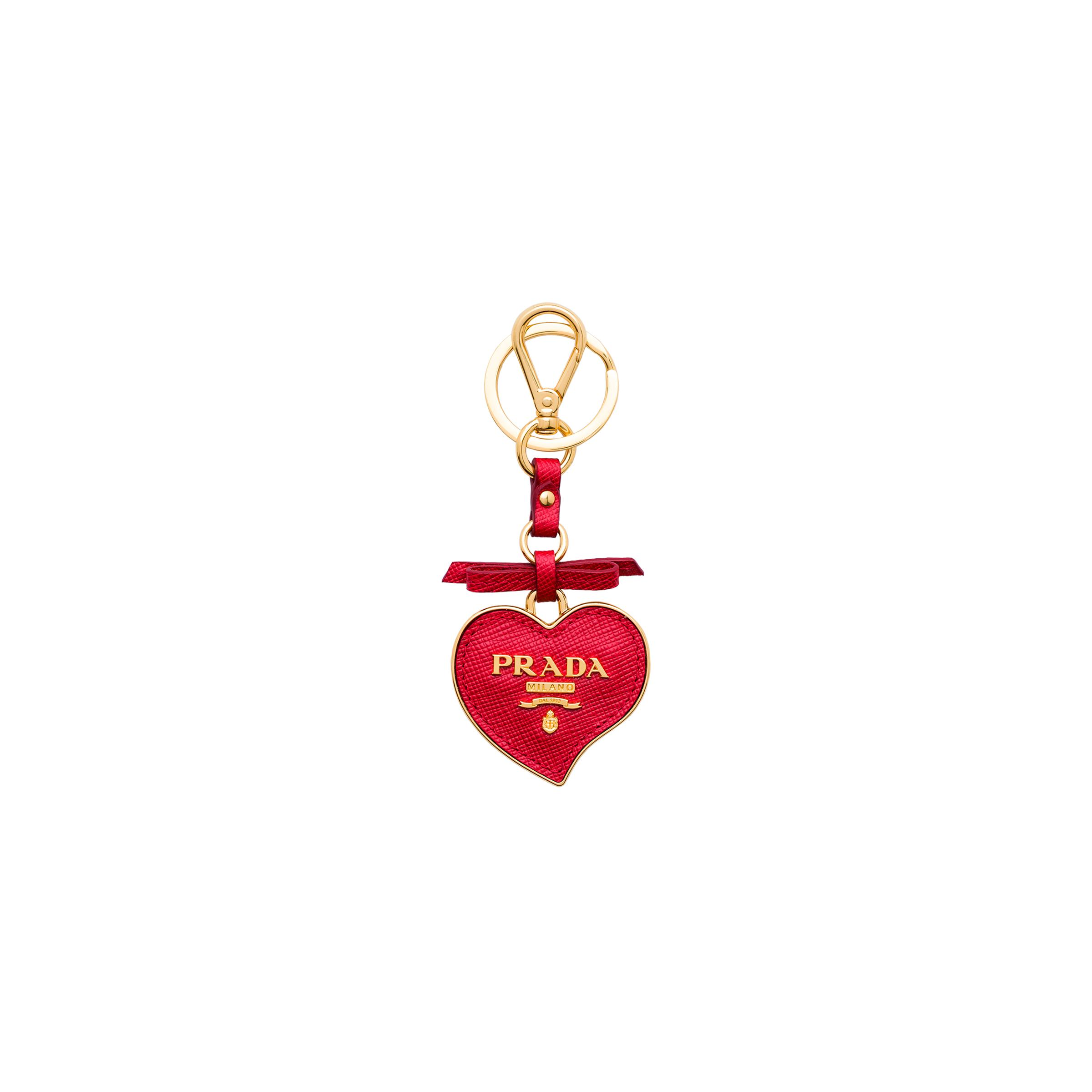 Saffiano And Metal Keychain Trick Women Fiery Red