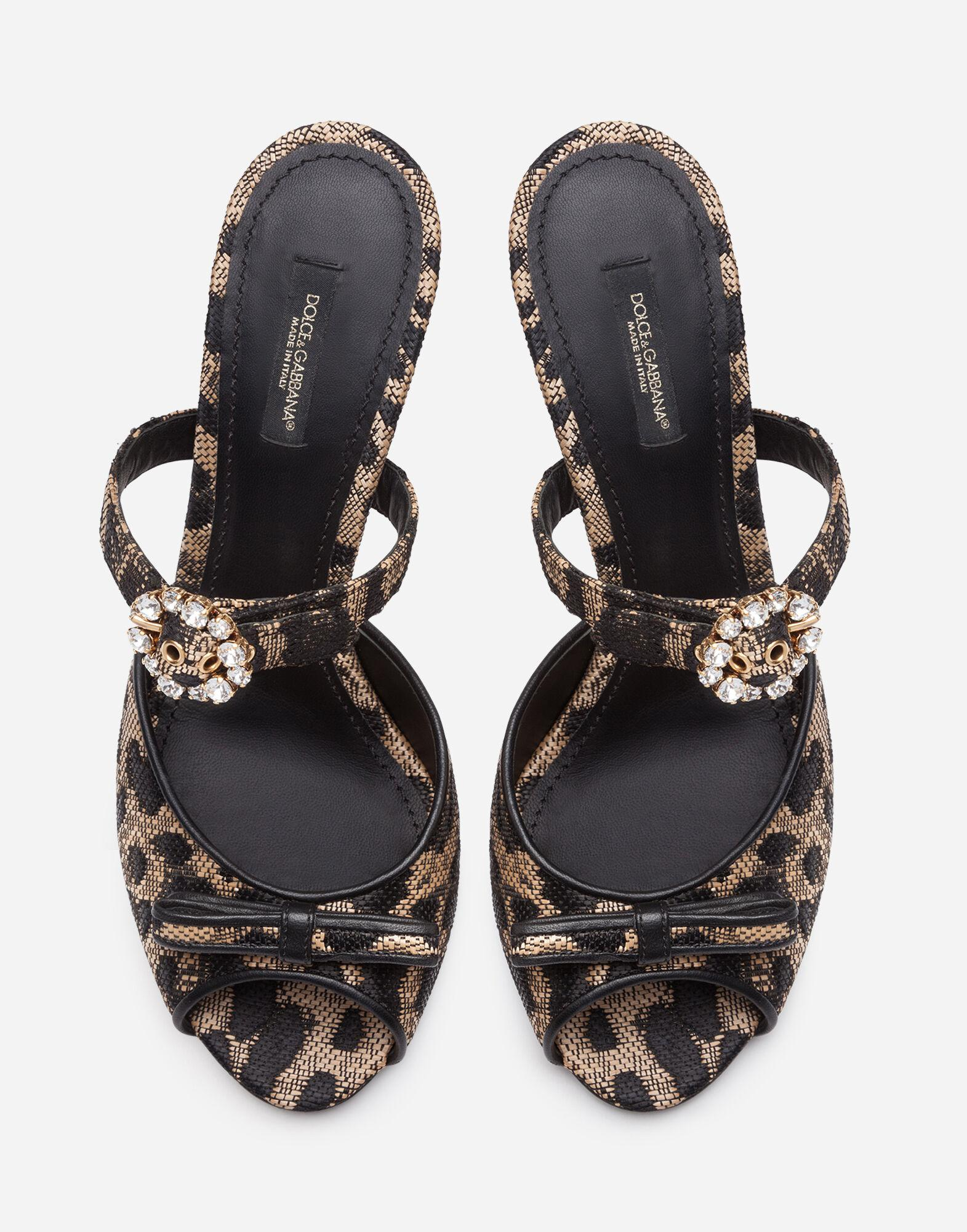 Mules in silk jacquard with leopard print and bejeweled buckle 3