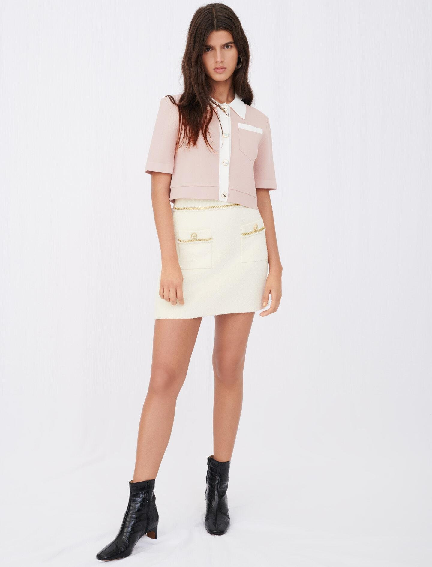 STRAIGHT SKIRT IN TWEED WITH CHAINS 3