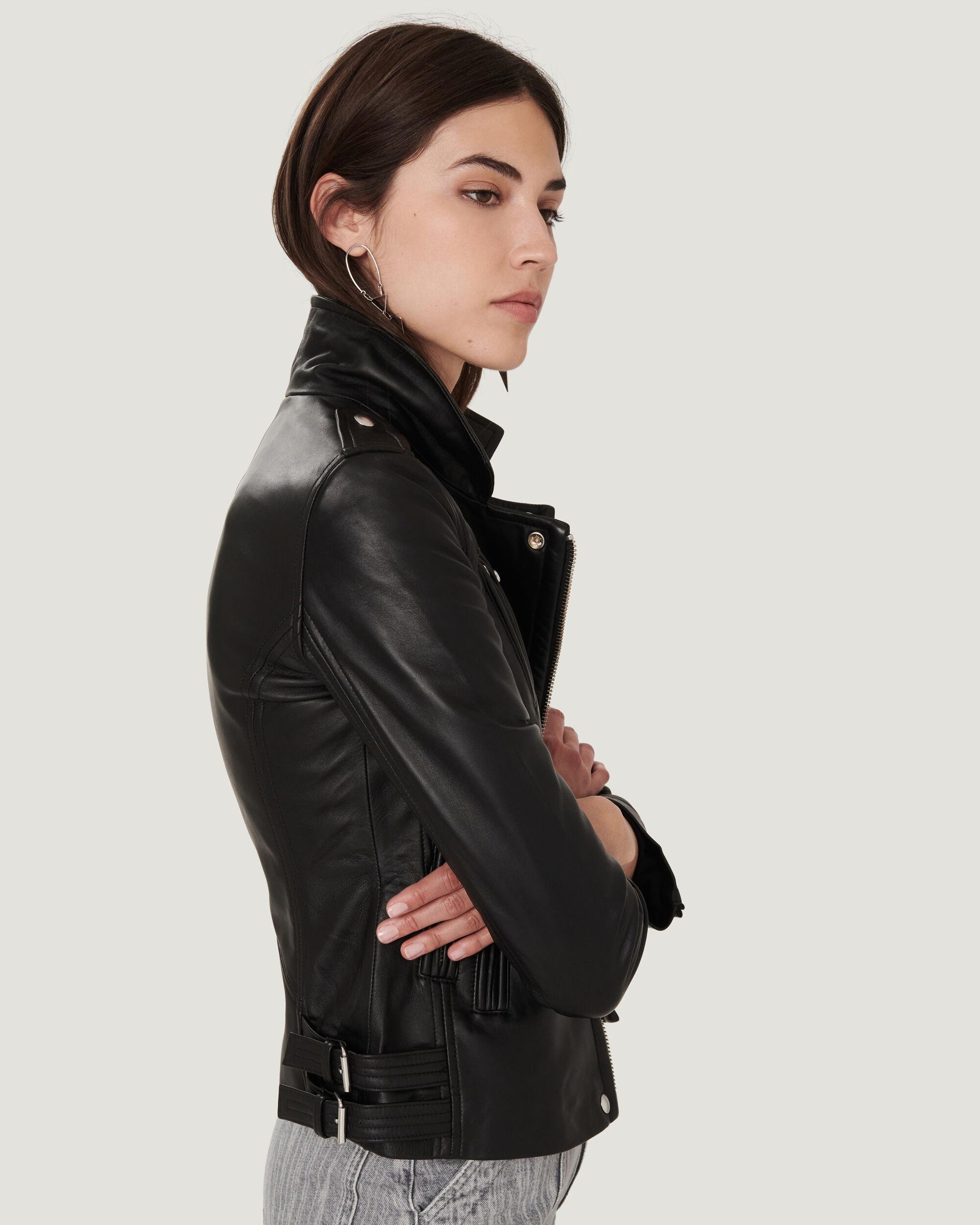 HAN LEATHER FITTED BIKER JACKET 3
