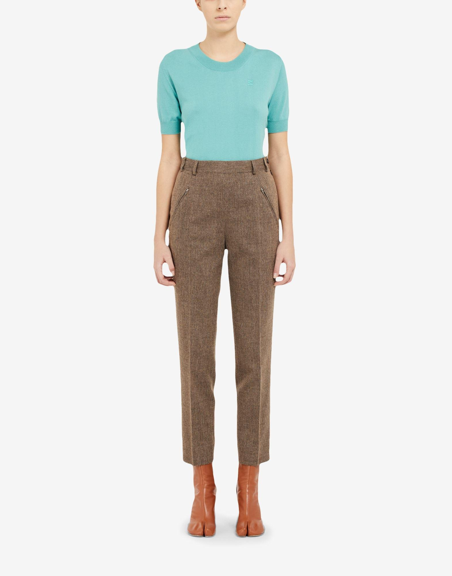 Chevron cropped trousers