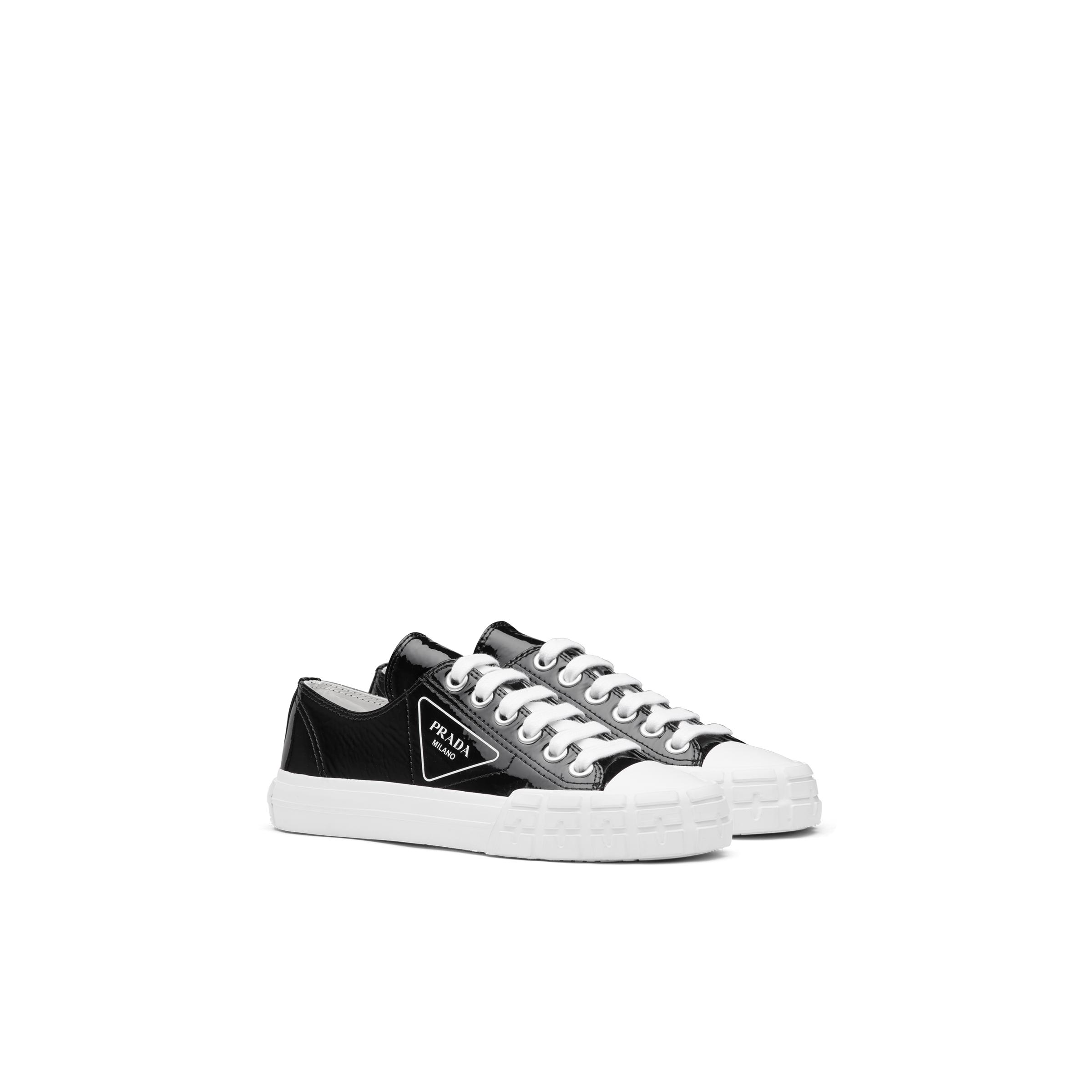 Wheel Patent Leather Sneakers With Vulcanized Rubber Sole Women Black/white
