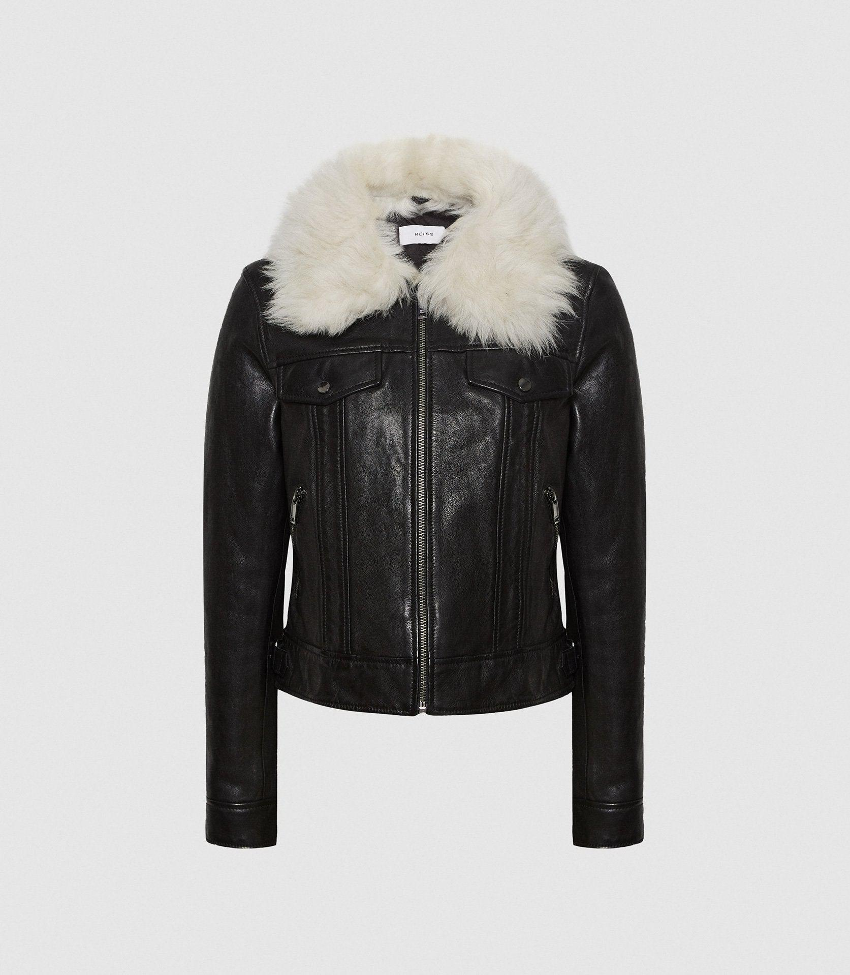 SHELLIE - LEATHER JACKET WITH SHEARING COLLAR 6