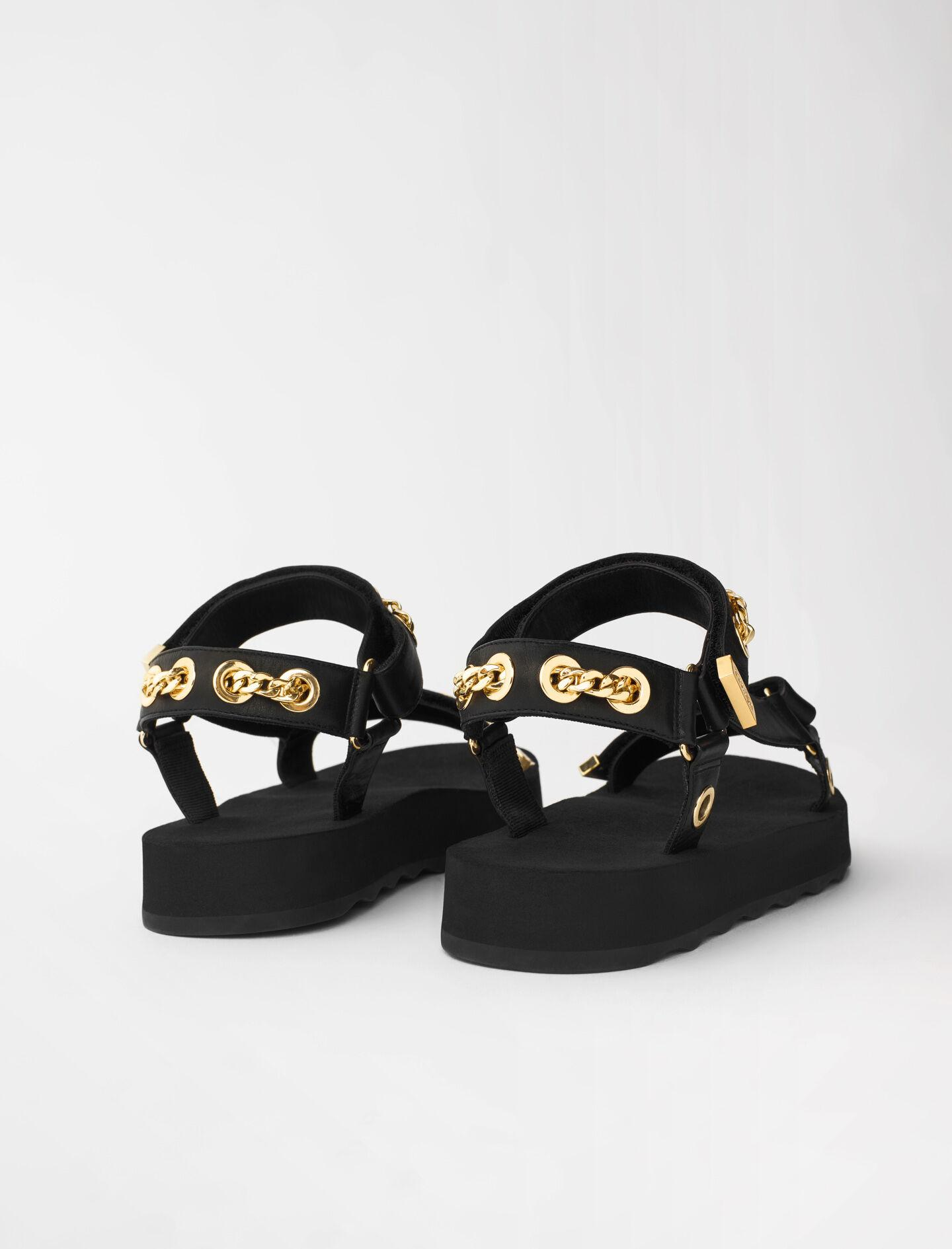 LEATHER SANDALS WITH EYELETS AND CHAIN 2