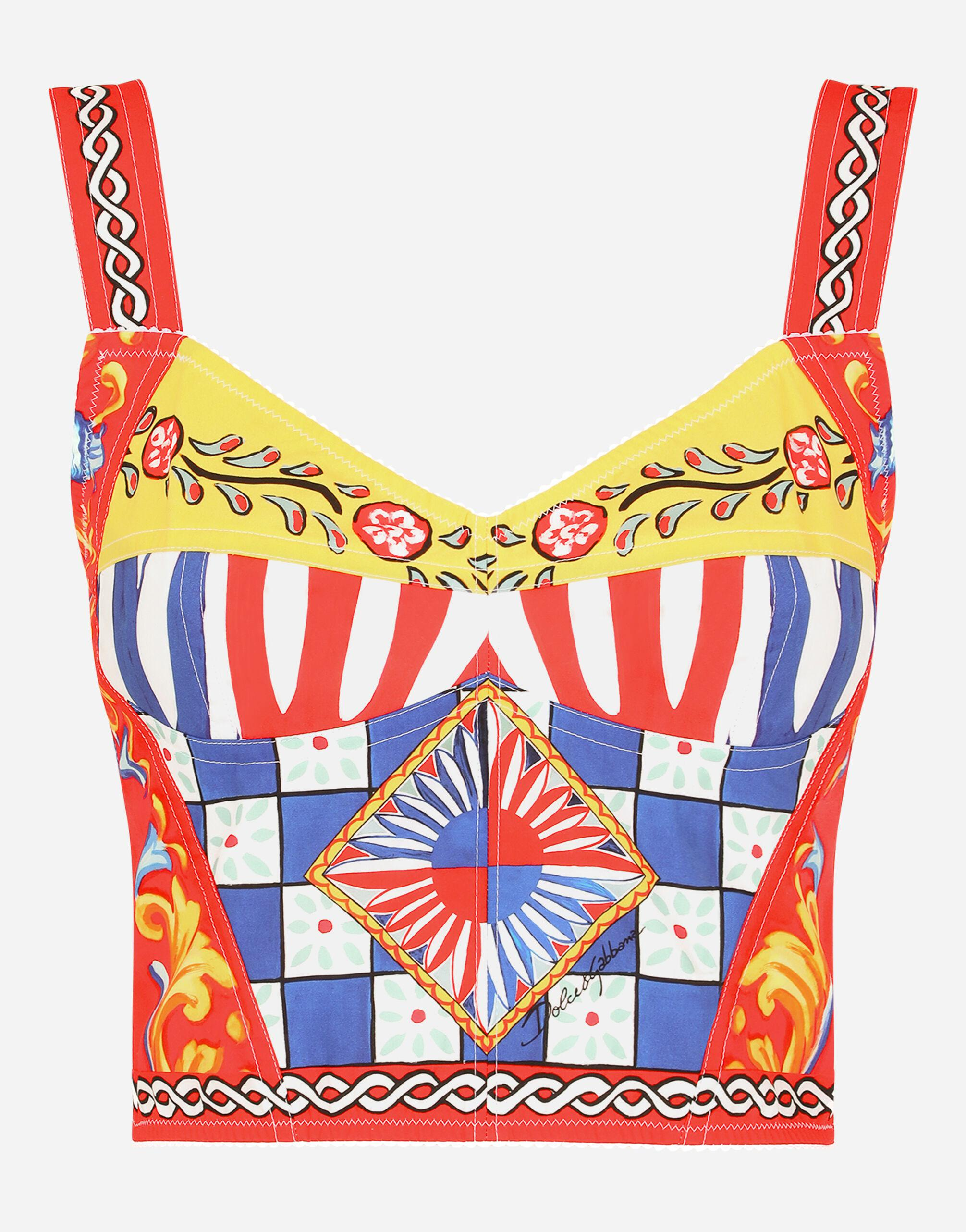 Carretto-print charmeuse bustier top 5