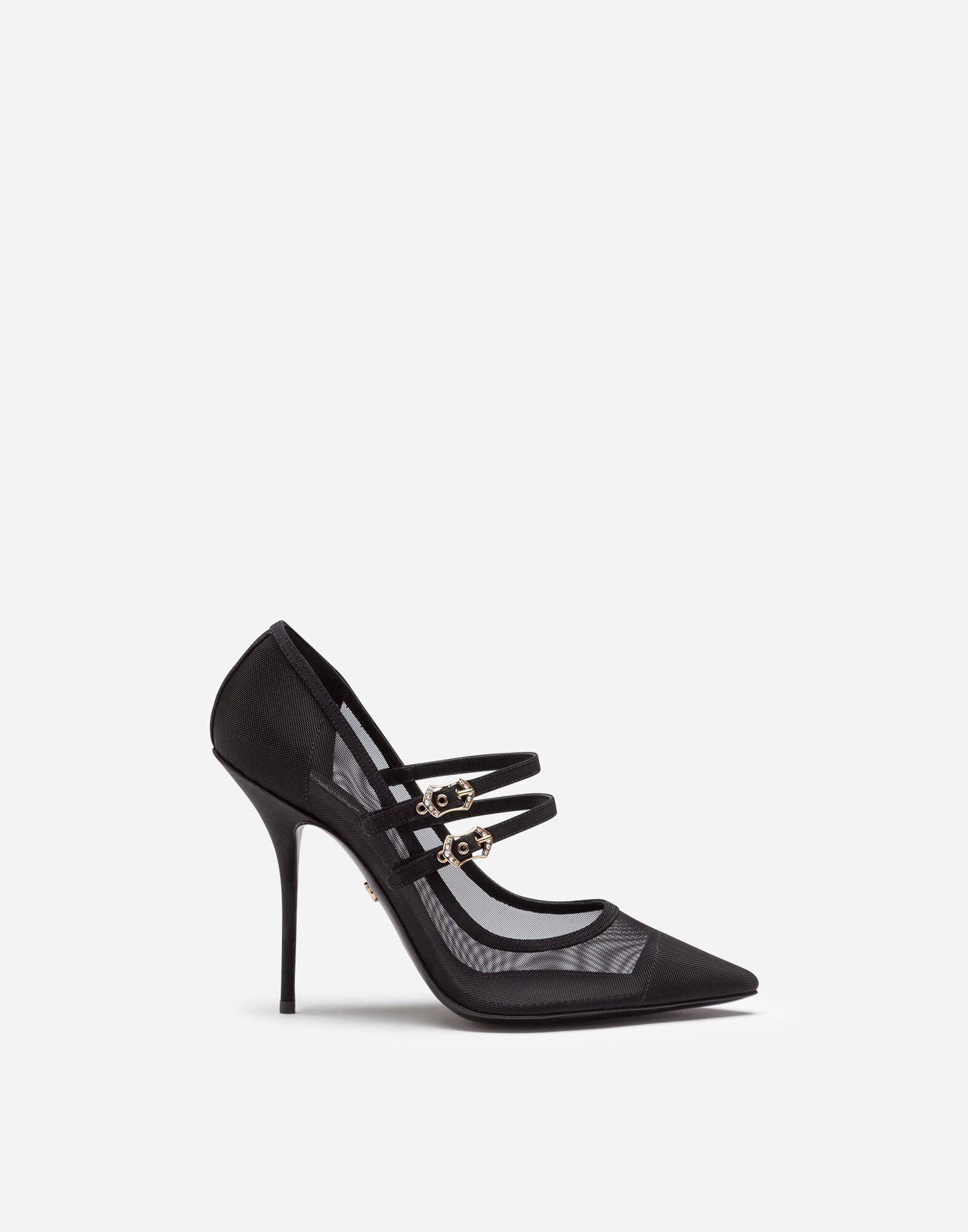 Pumps in mesh and grosgrain with two straps