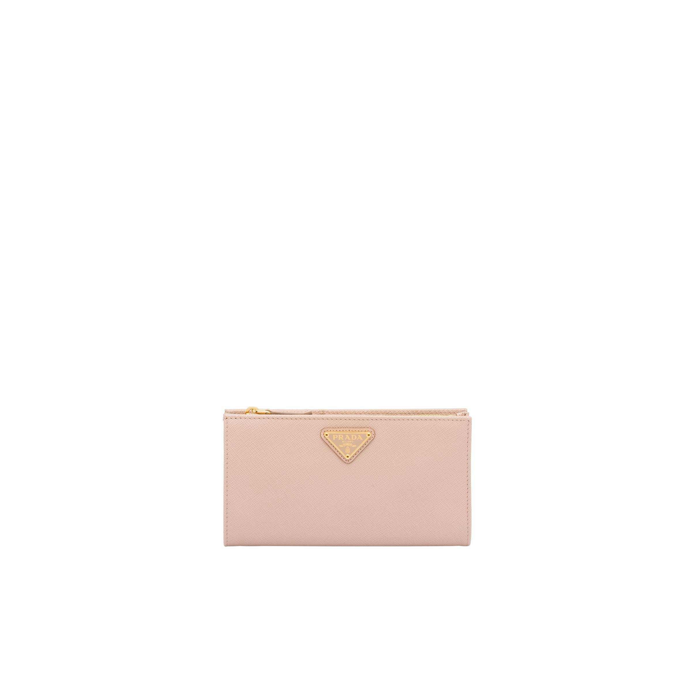 Large Saffiano Leather Wallet Women Powder Pink
