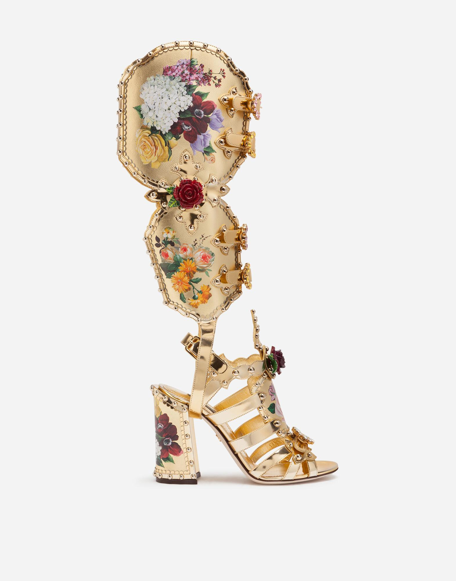 Nappa mordore gladiator sandals with studs and painted flower detailing
