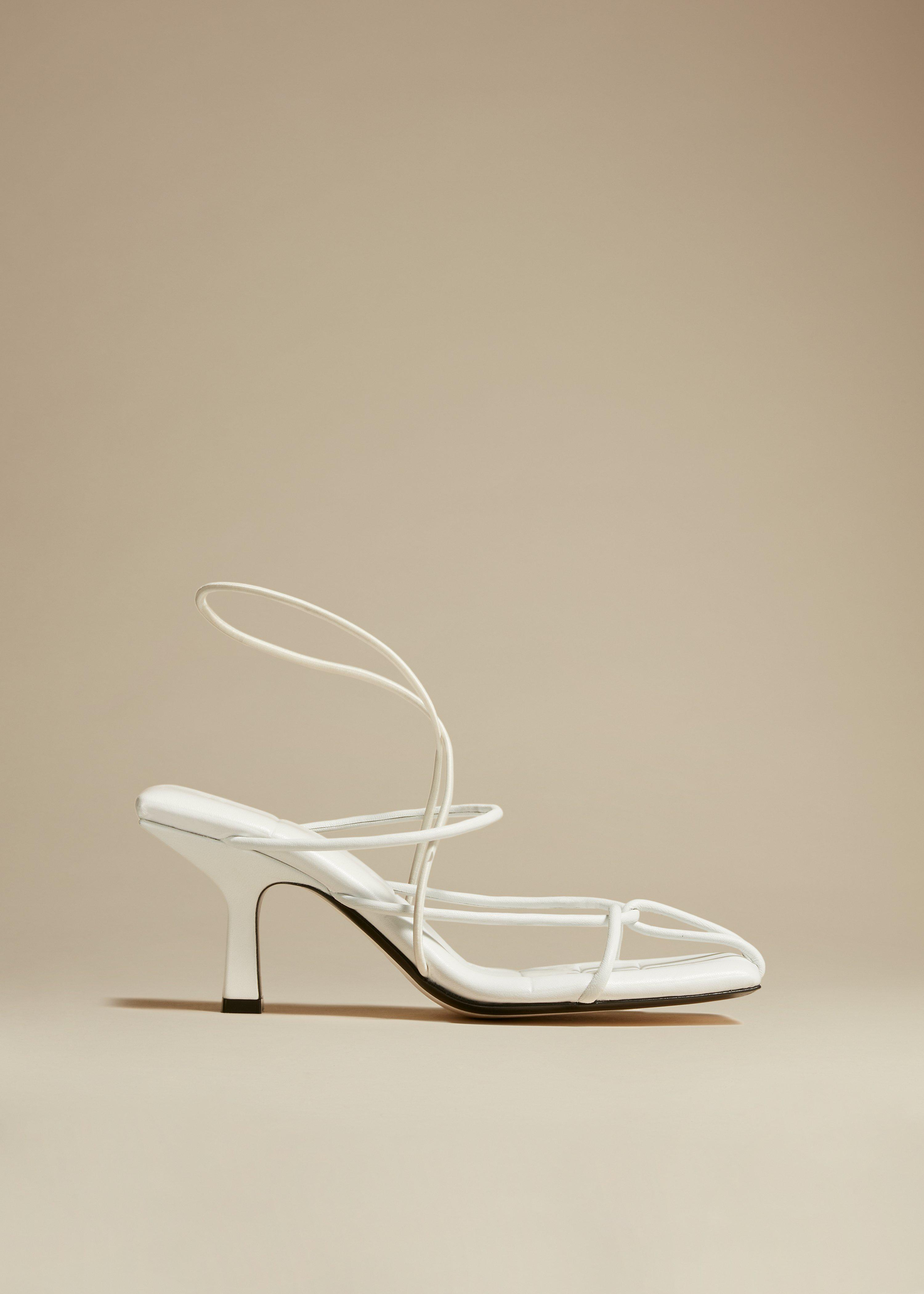 The Monza Heel in White Leather
