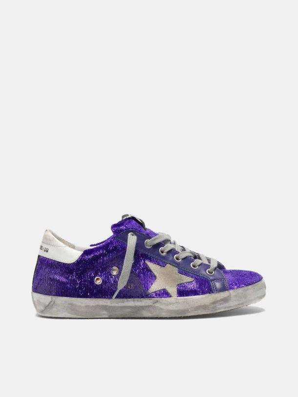 Super-Star sneakers with purple shimmer lamé threads