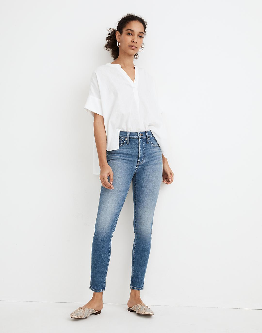 """10"""" High-Rise Skinny Crop Jeans in Sheffield Wash"""