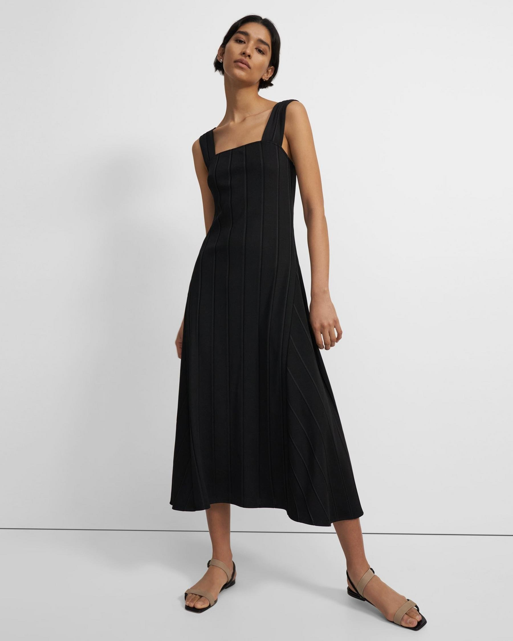 Paneled Dress in Ribbed Stretch Knit