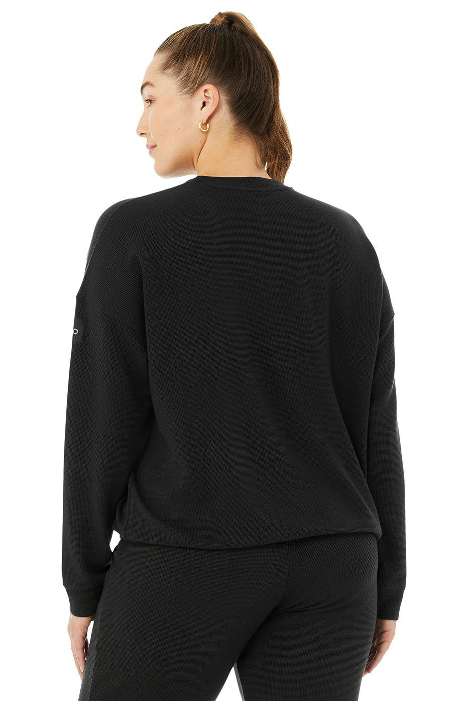 Micro Waffle Relaxation Pullover - Black 7