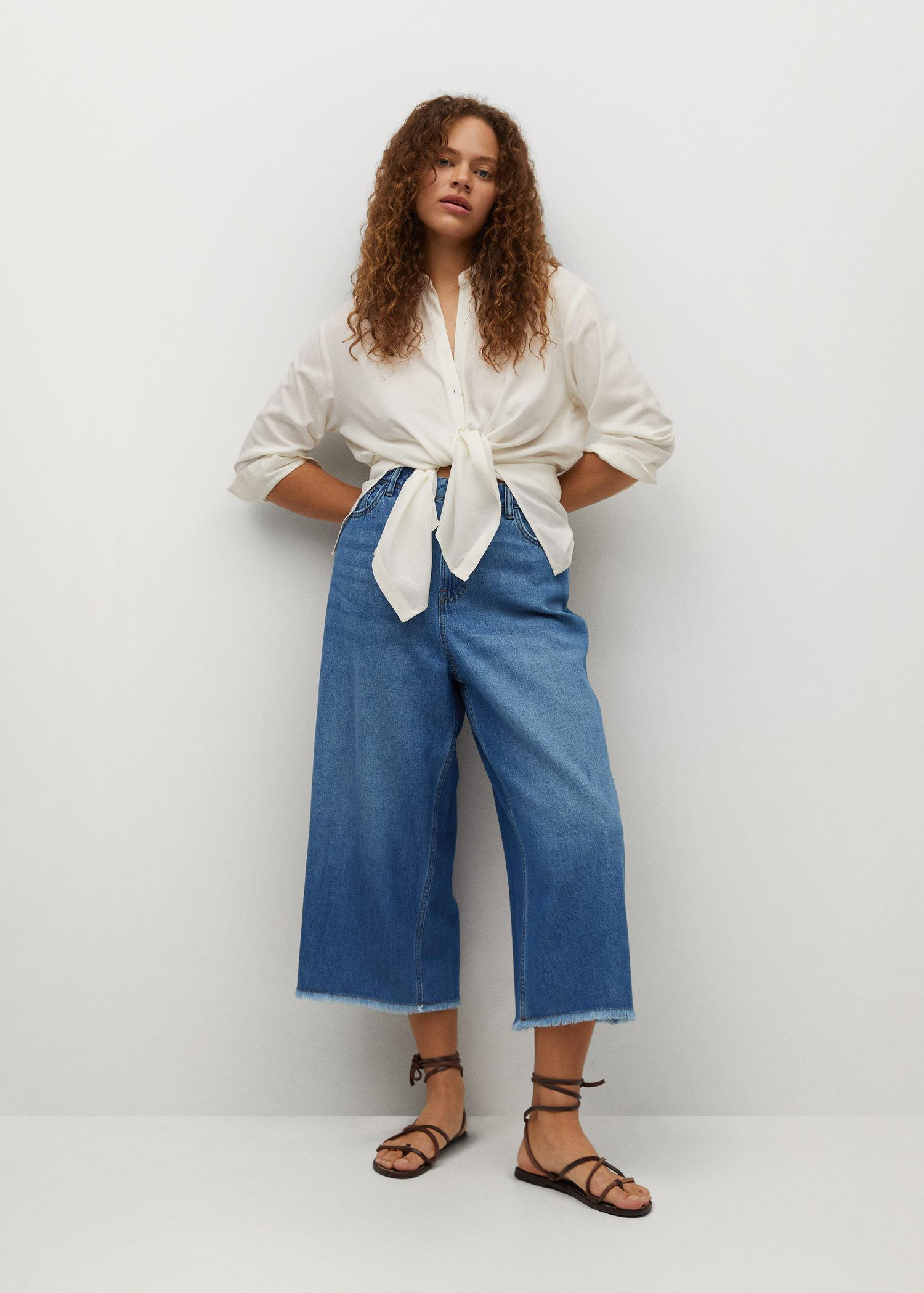 Culotte frayed jeans
