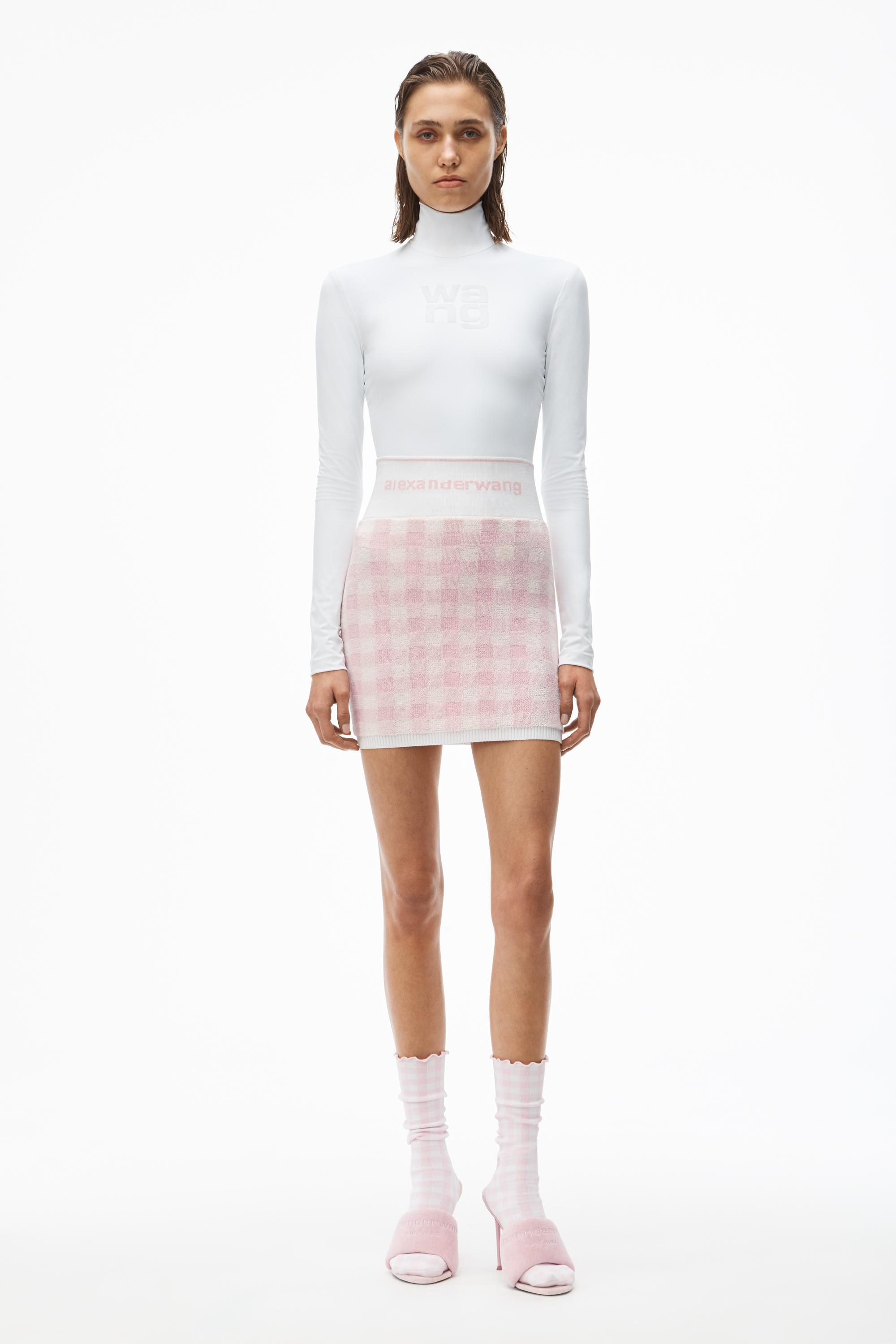 gingham terry mini skirt