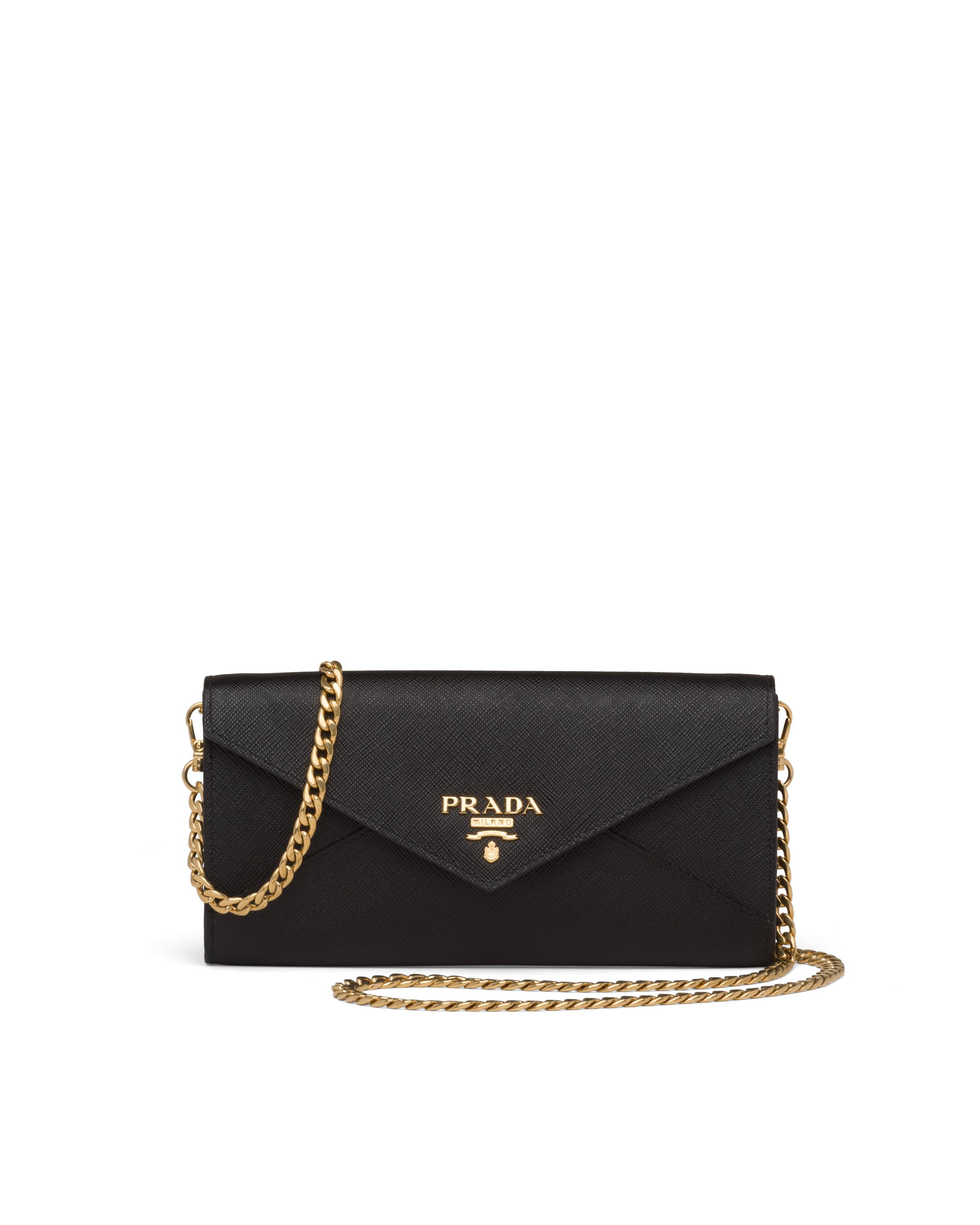 Saffiano Leather Wallet With Shoulder Strap Women Black 5