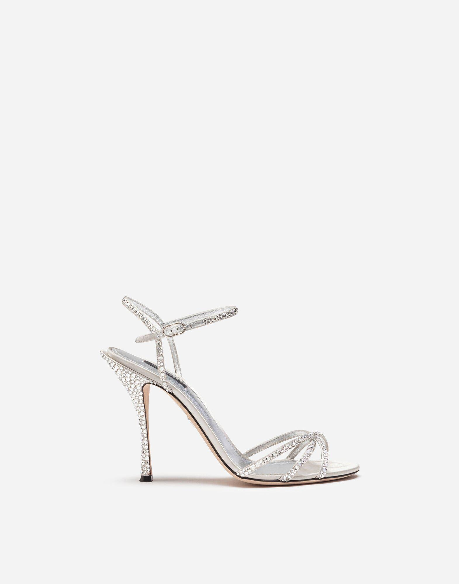 Satin sandals with fusible rhinestone detailing