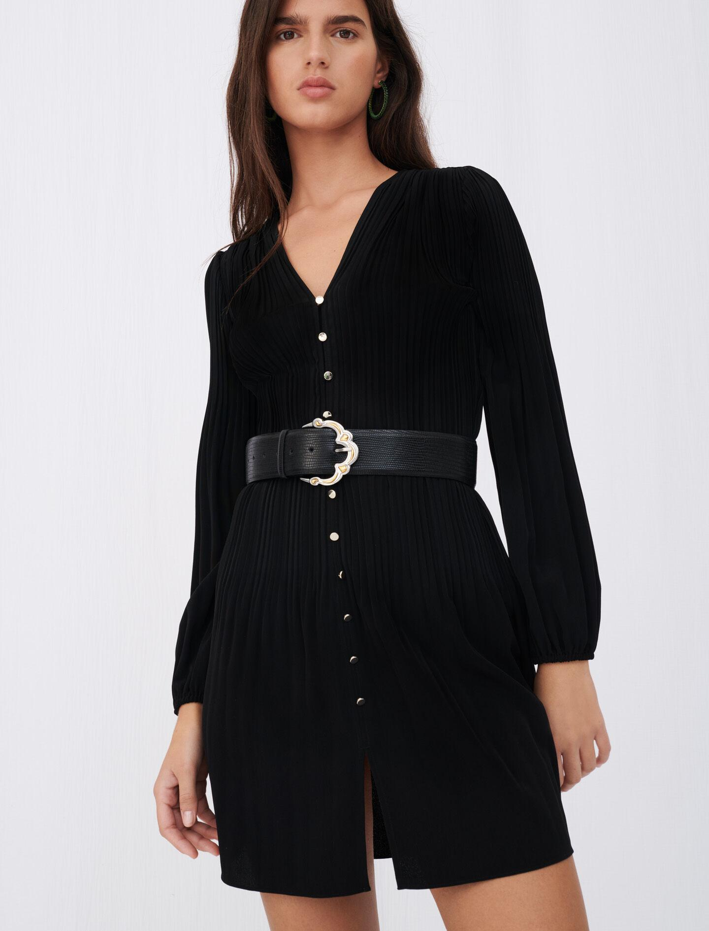 ALL-OVER PLEAT DRESS WITH BUTTONS