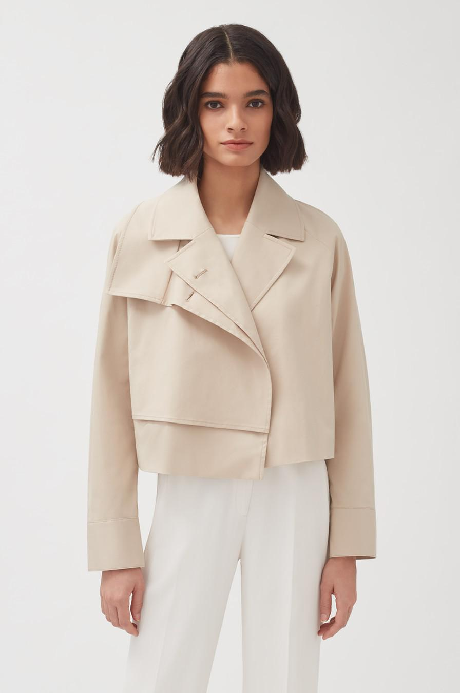 Women's Cropped Trench in Dune | Size: L/XL | Cotton Elastane Blend by Cuyana 1