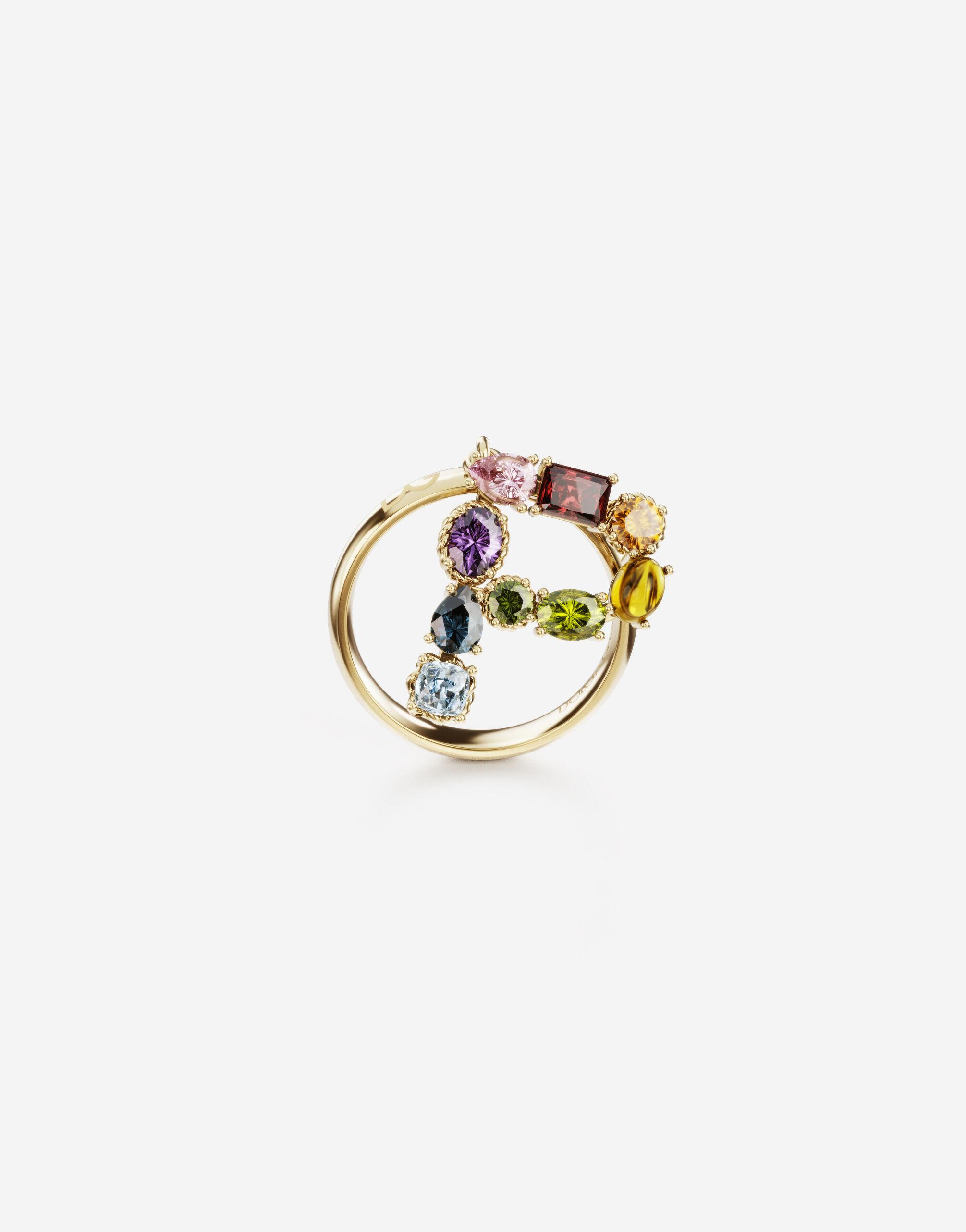 Rainbow alphabet P ring in yellow gold with multicolor fine gems