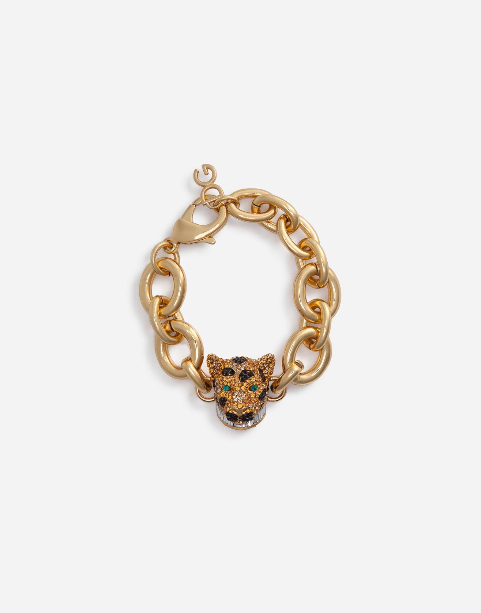 Chain bracelet with decorative leopard in crystal pavé