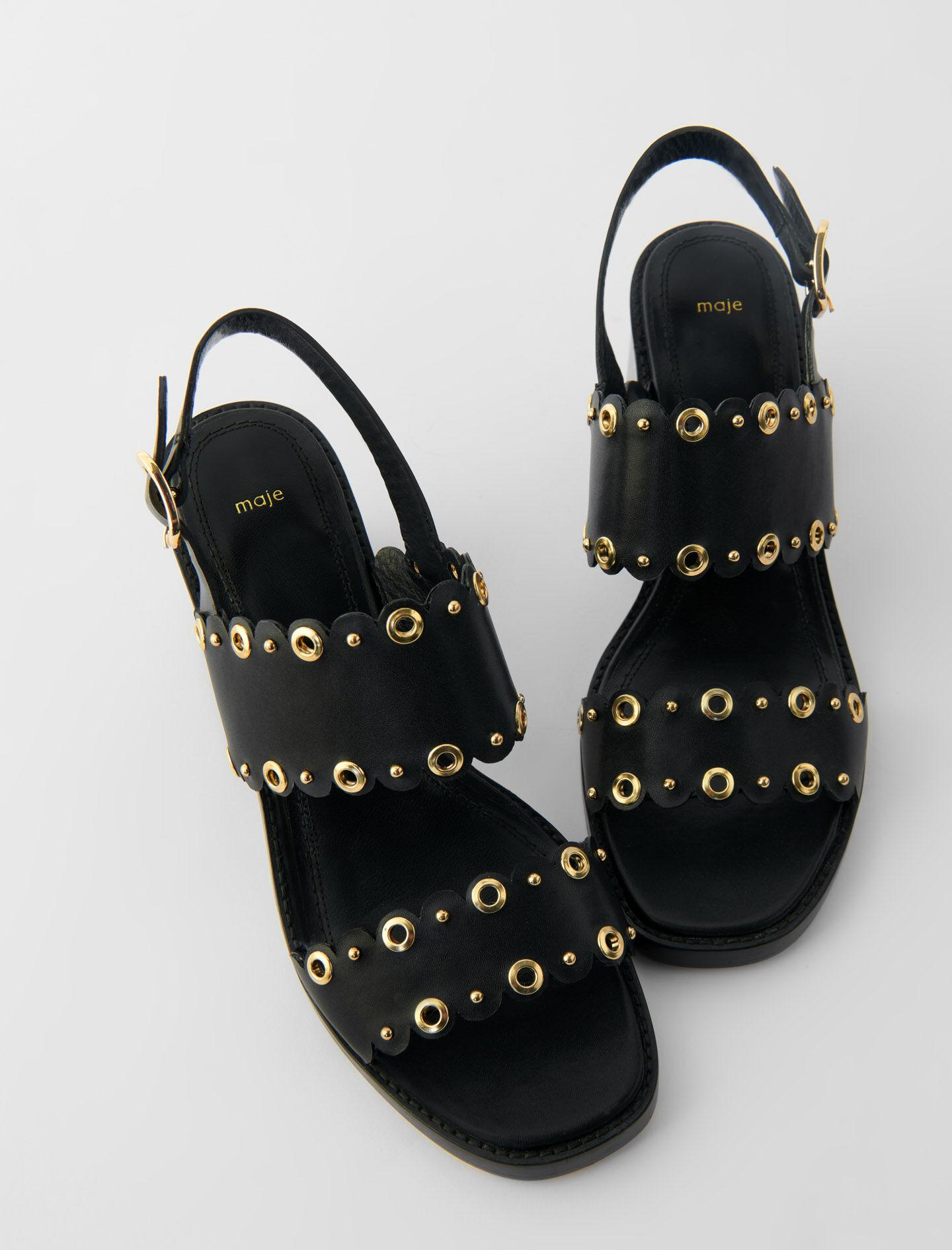 HIGH-HEELED LEATHER SANDALS WITH EYELETS 2