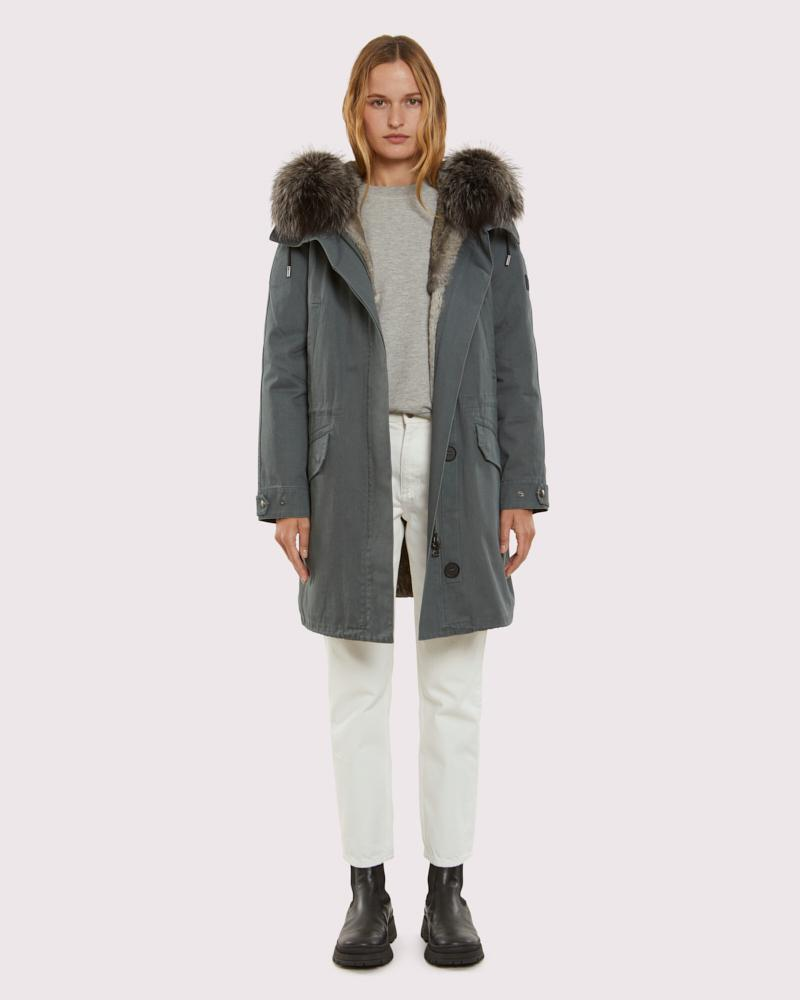 iconic cotton and fur parka