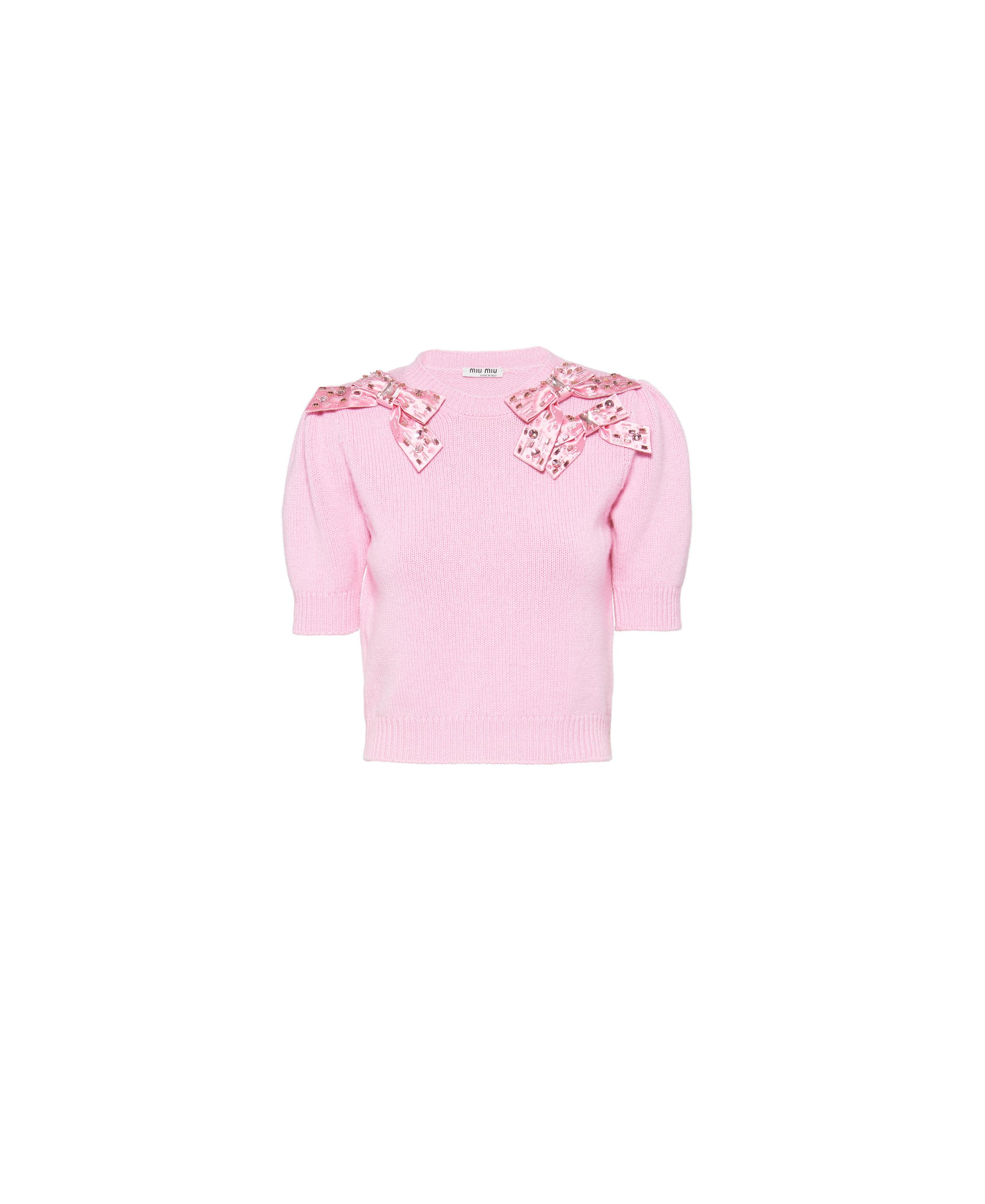Embroidered Cashmere Sweater Women Cherry