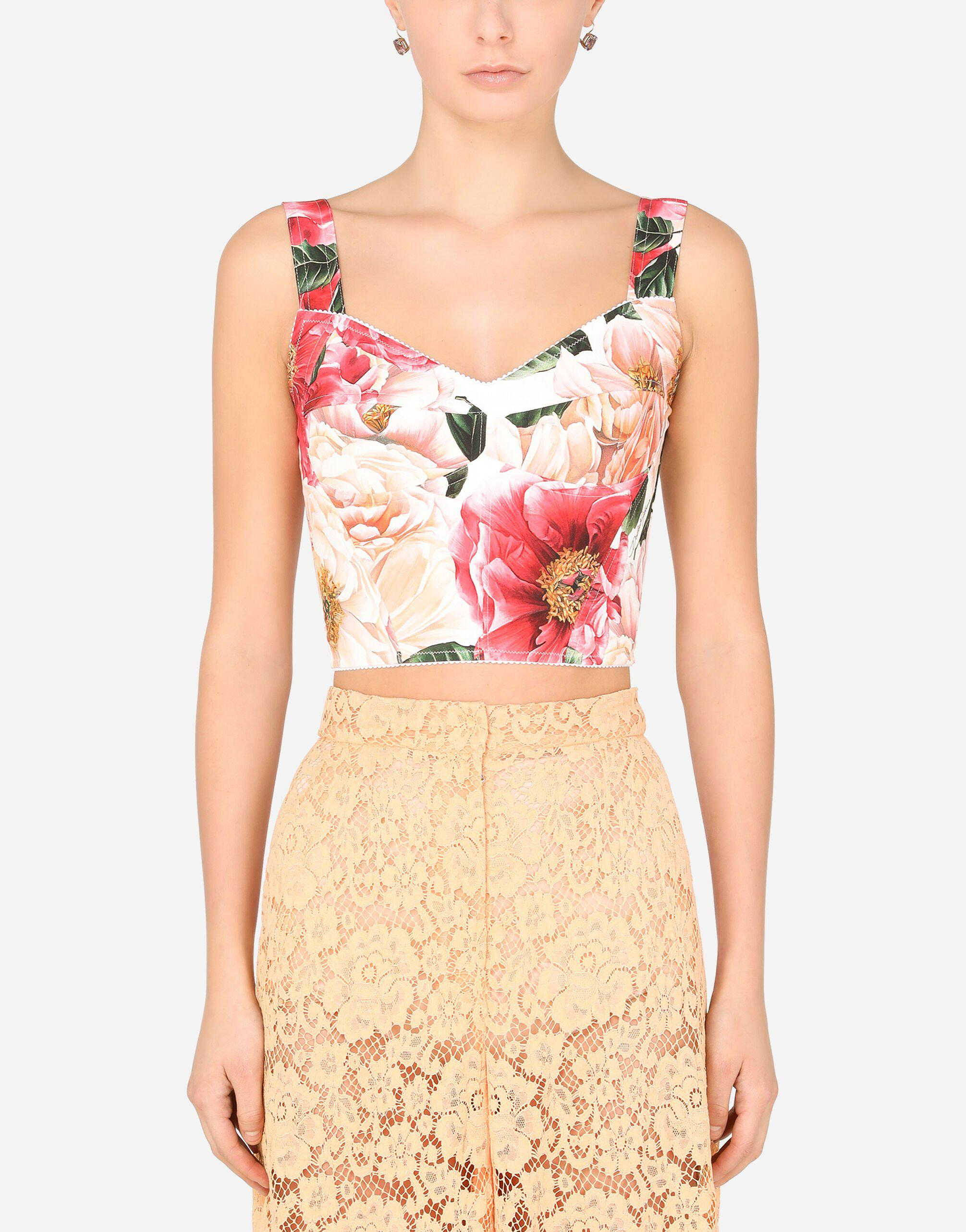 Camellia-print charmeuse bustier top