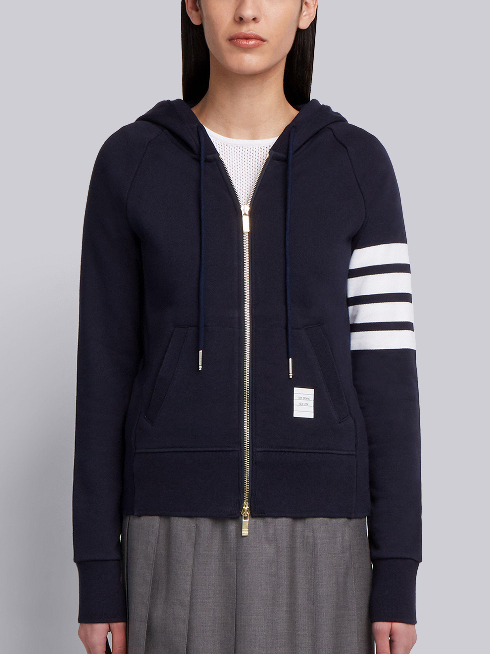 Navy Loopback Jersey Knit Engineered 4-bar Stripe Classic Hoodie