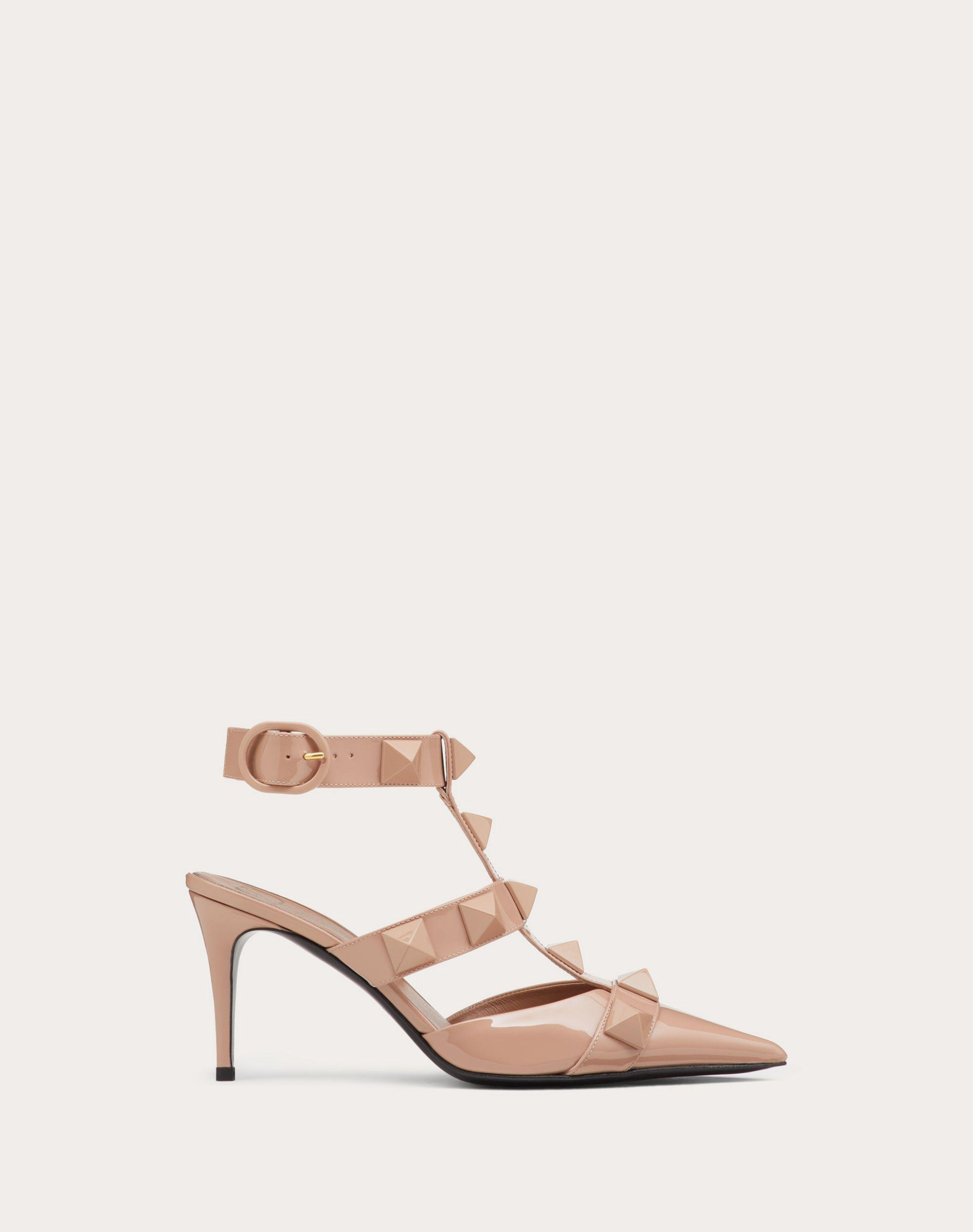 ROMAN STUD PUMP IN PATENT-LEATHER AND TONAL STUDS 80MM