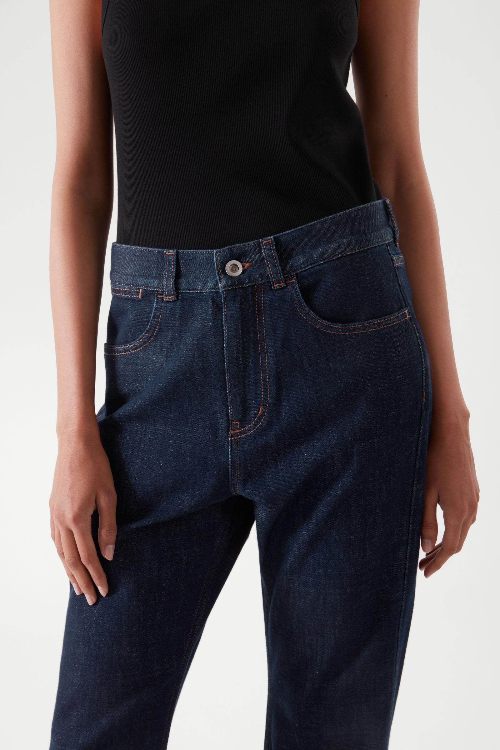 FLARED RECYCLED COTTON DENIM PANTS 6