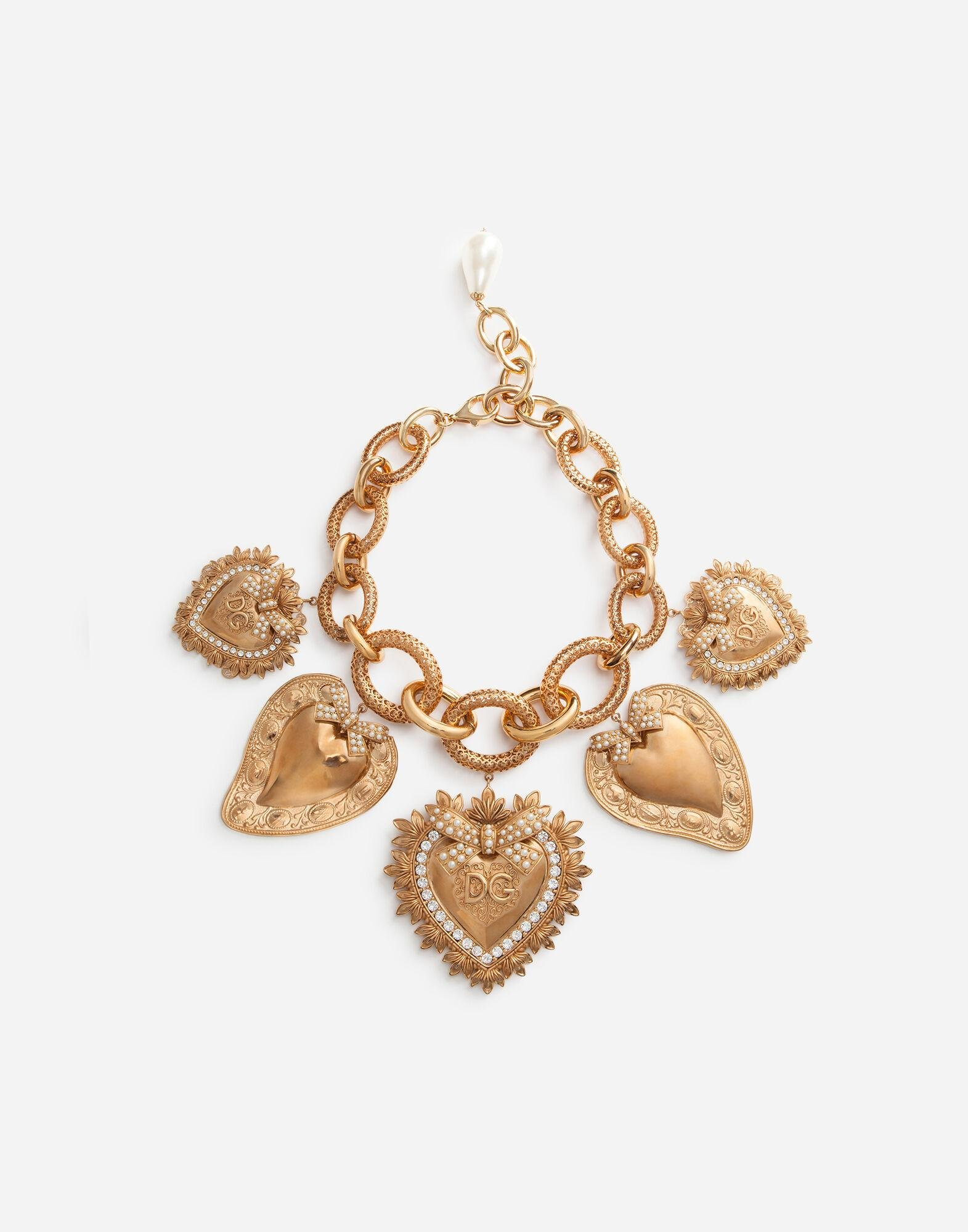 Necklace with sacred heart charms