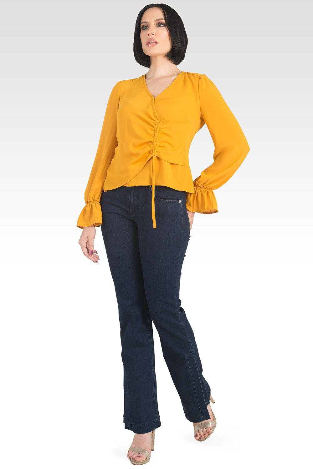 Vera Solid Tie Front Flute Sleeve Blouse - Ginger 1