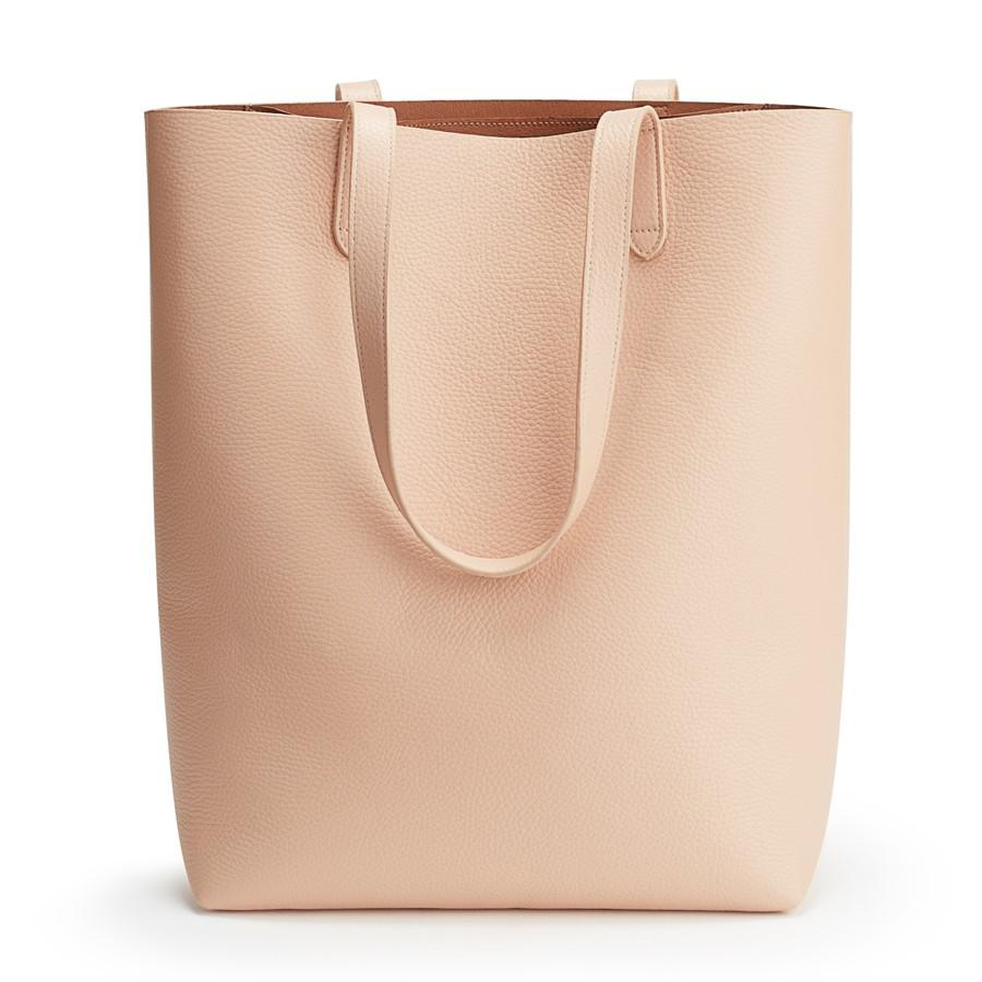 Women's Tall Structured Leather Tote Bag in Blush Pink | Pebbled Leather by Cuyana