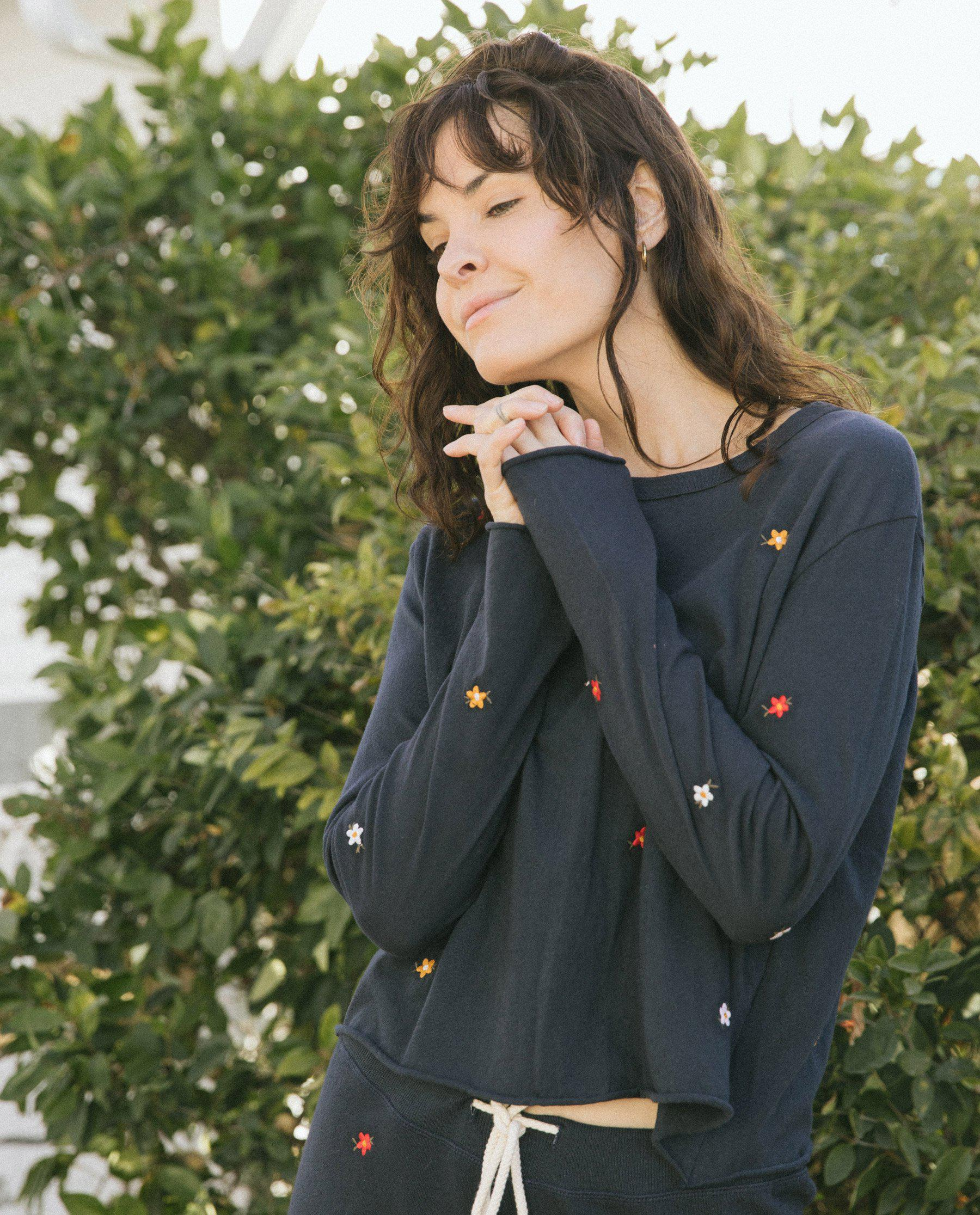 The Long Sleeve Crop Tee. -- Navy with Seed Floral Embroidery 1