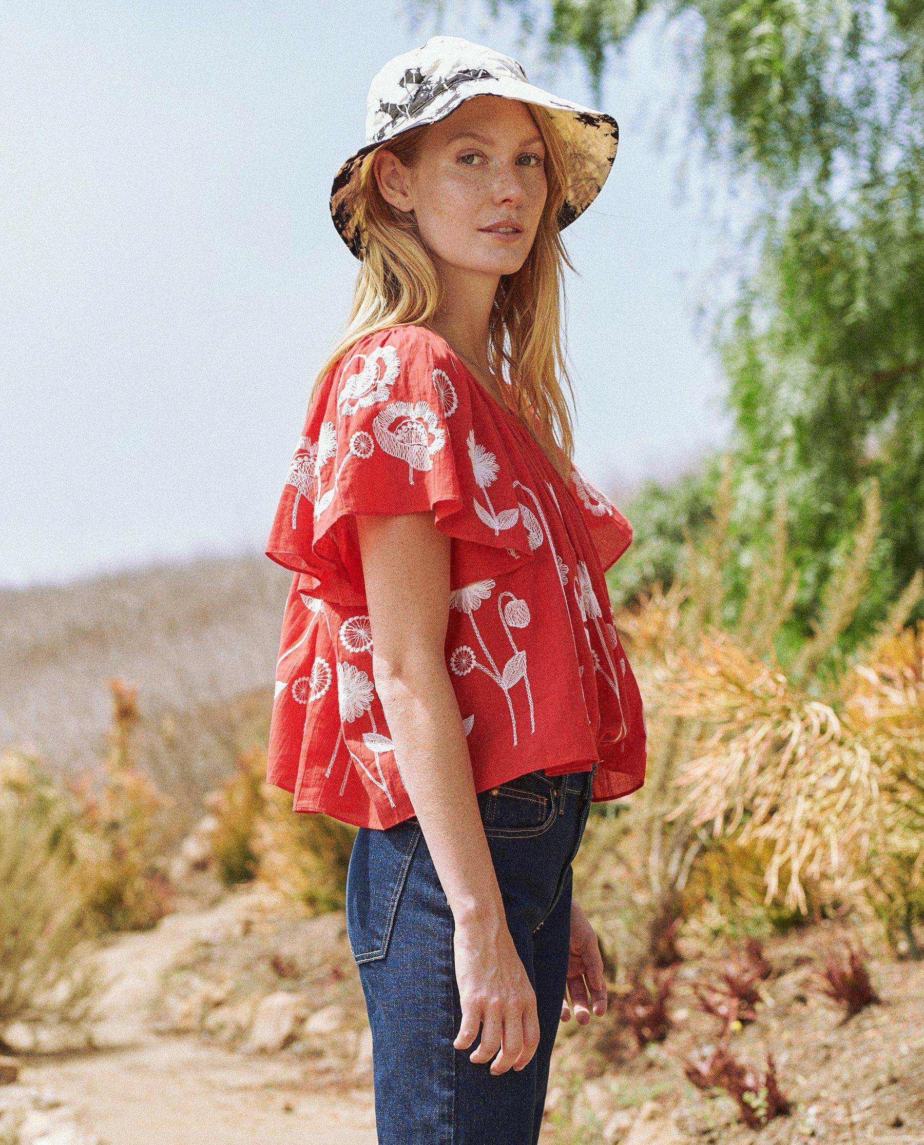 The Dale Top. -- Cherry Red with Trellis Floral Embroidery 1