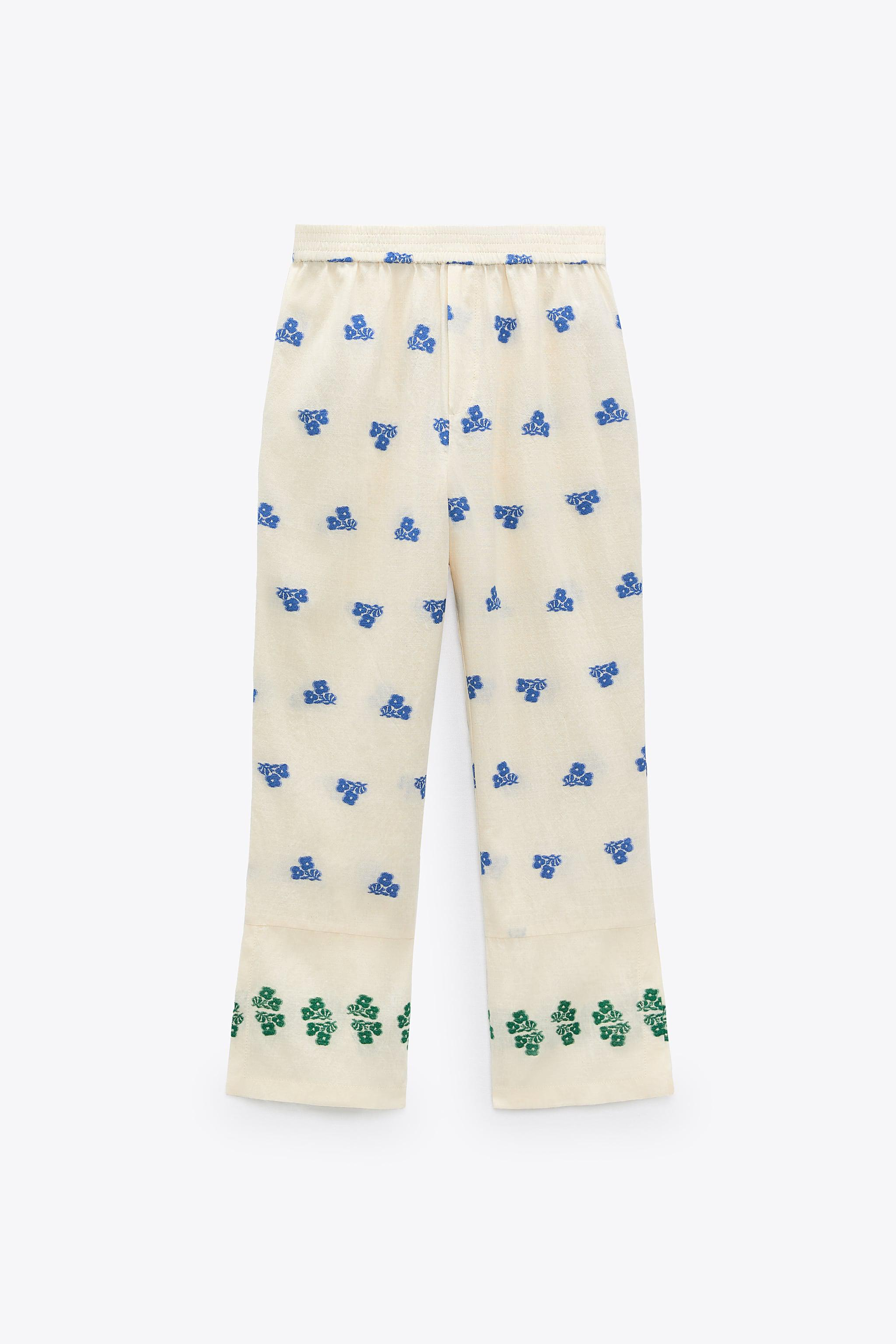 FLORAL EMBROIDERY PANTS