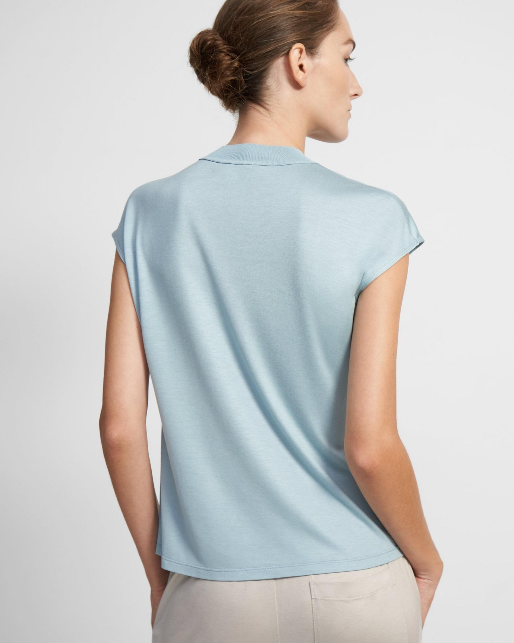 Ribbed Neck Top in Silk Jersey 2